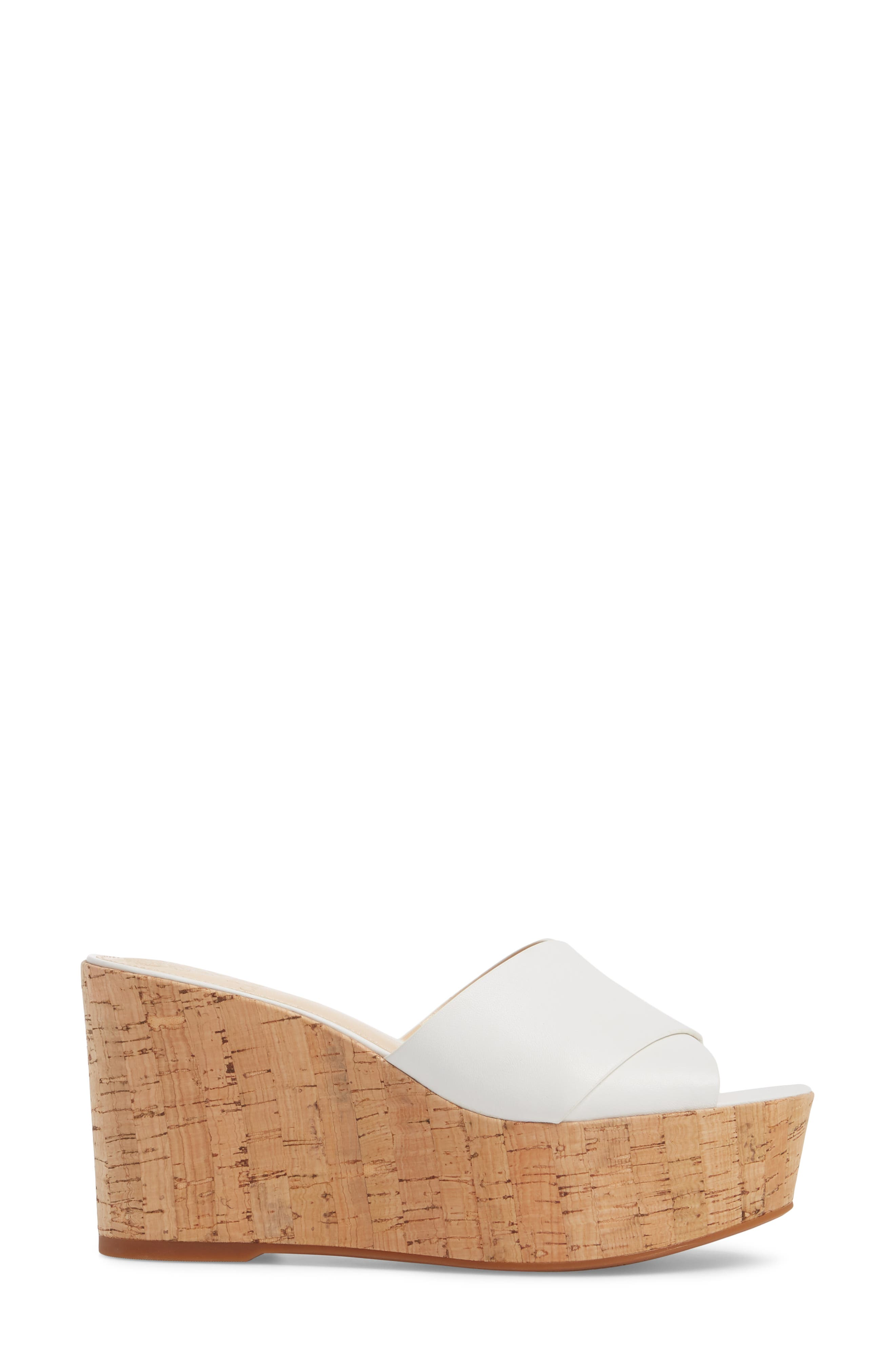 Kessina Platform Wedge Mule,                             Alternate thumbnail 3, color,                             PURE LEATHER