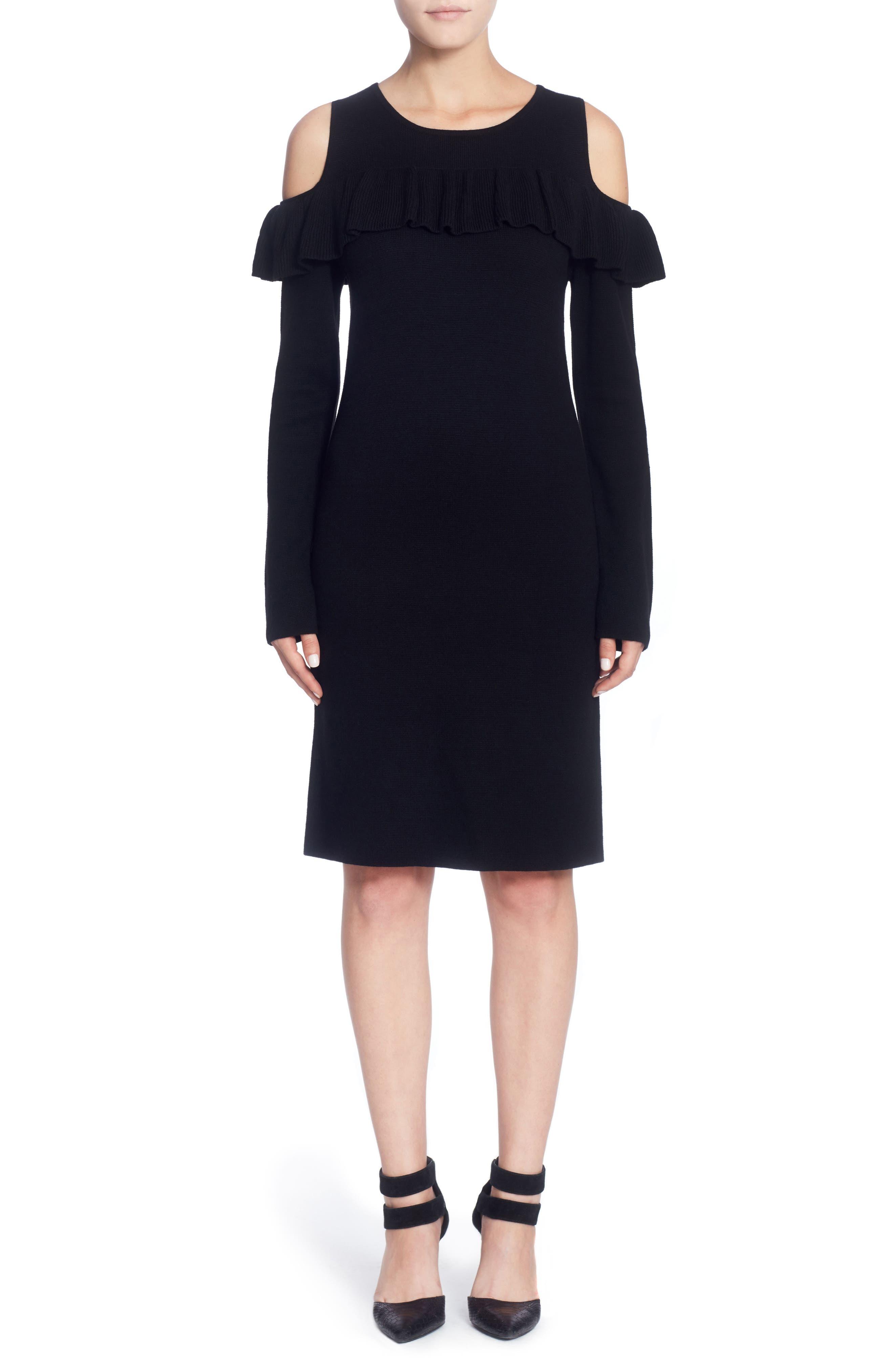 Brigid Cold Shoulder Ruffle Dress,                             Main thumbnail 1, color,                             010