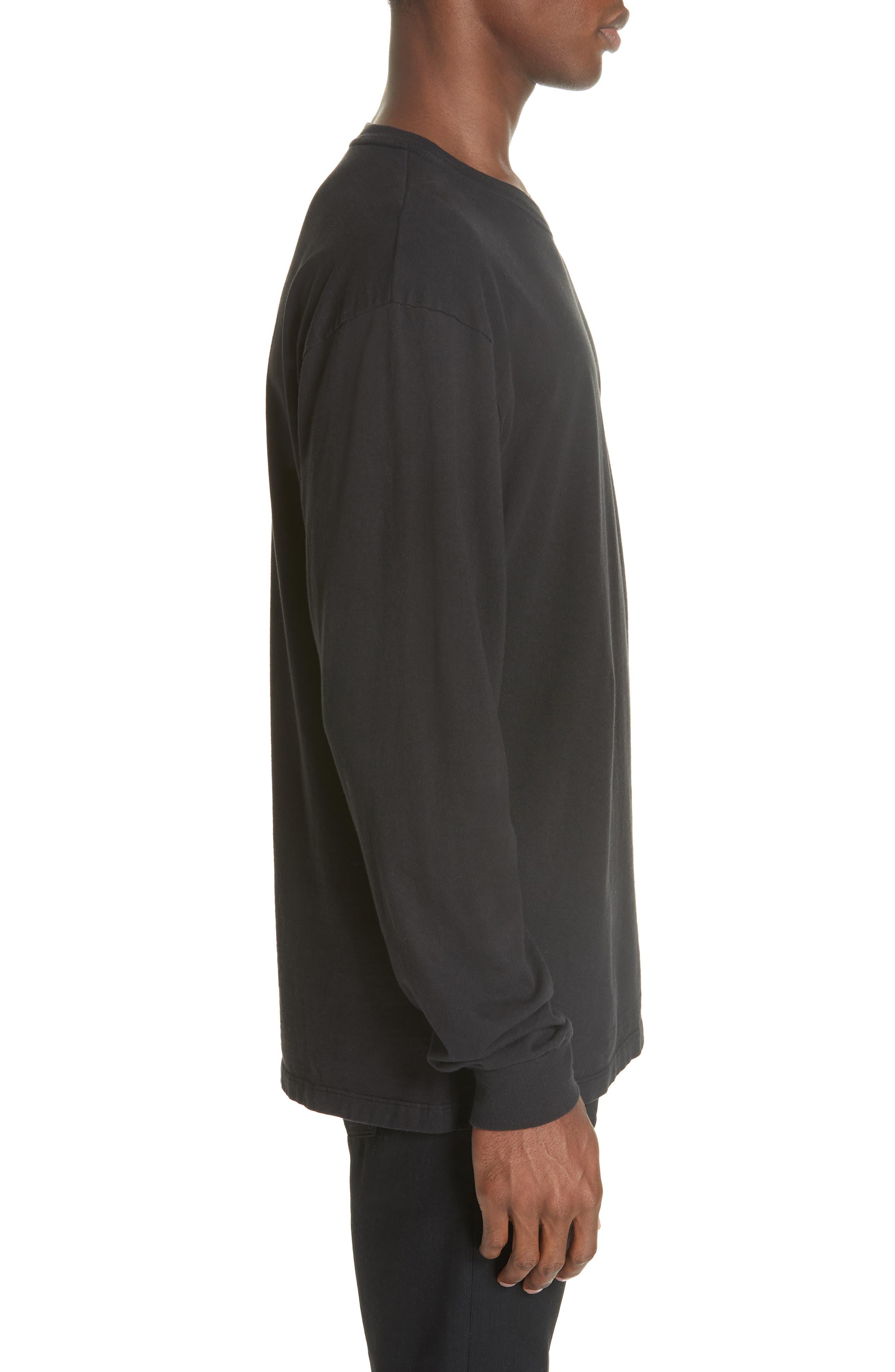 Long Sleeve Crewneck T-Shirt,                             Alternate thumbnail 3, color,                             BLACK