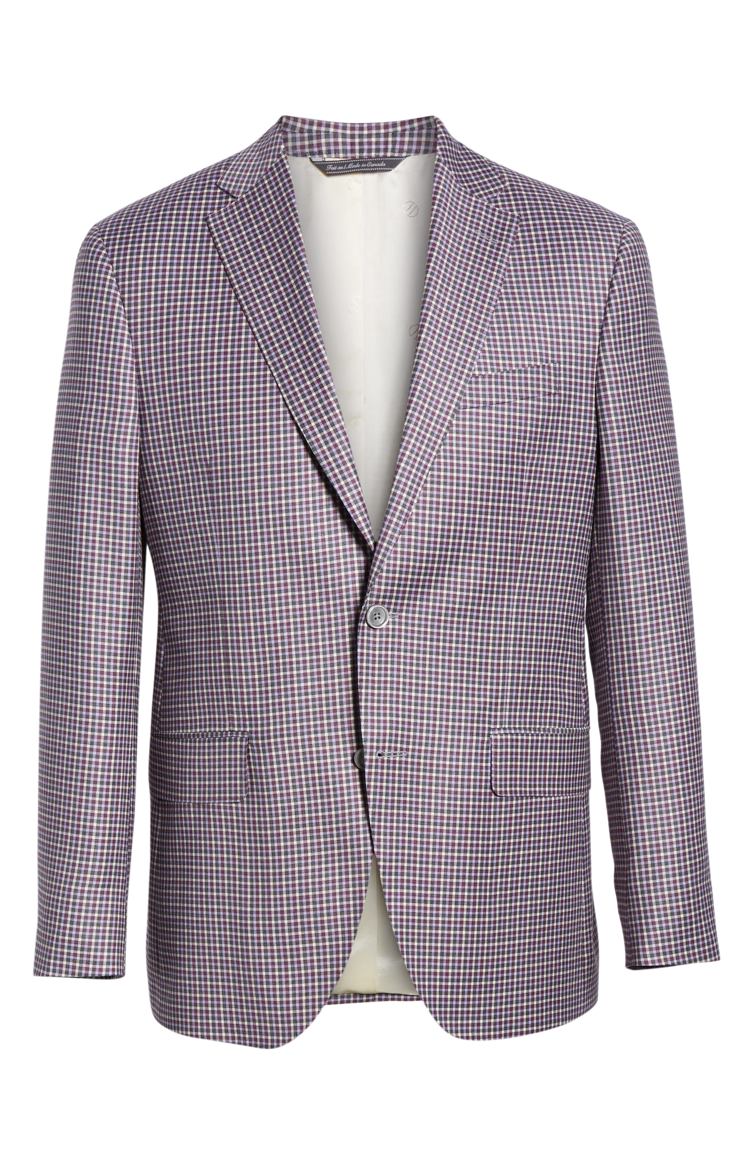 Connor Classic Fit Check Wool Sport Coat,                             Alternate thumbnail 5, color,                             BERRY