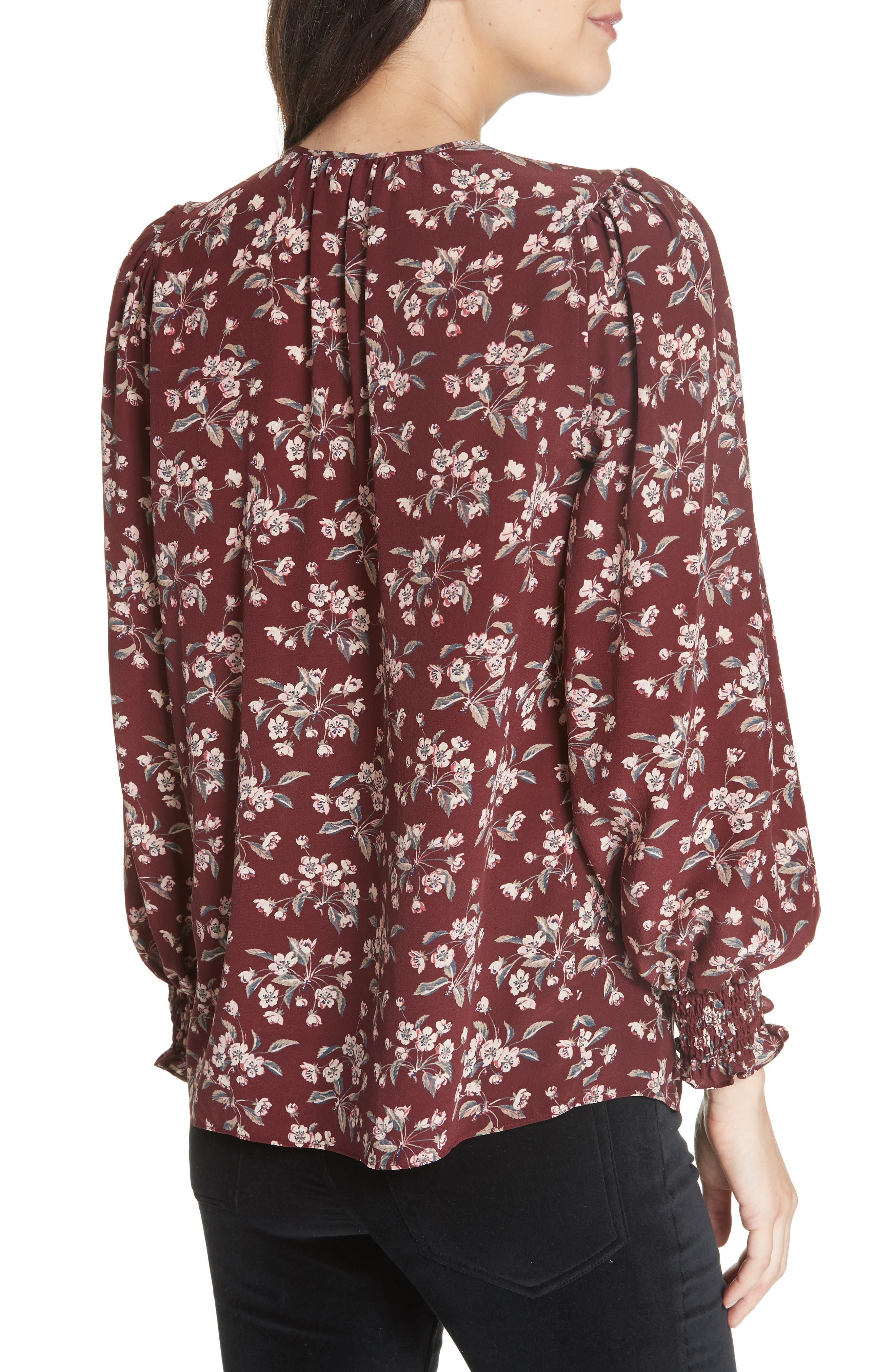 Tilda Silk Floral Top,                             Alternate thumbnail 2, color,                             BURGUNDY COMBO