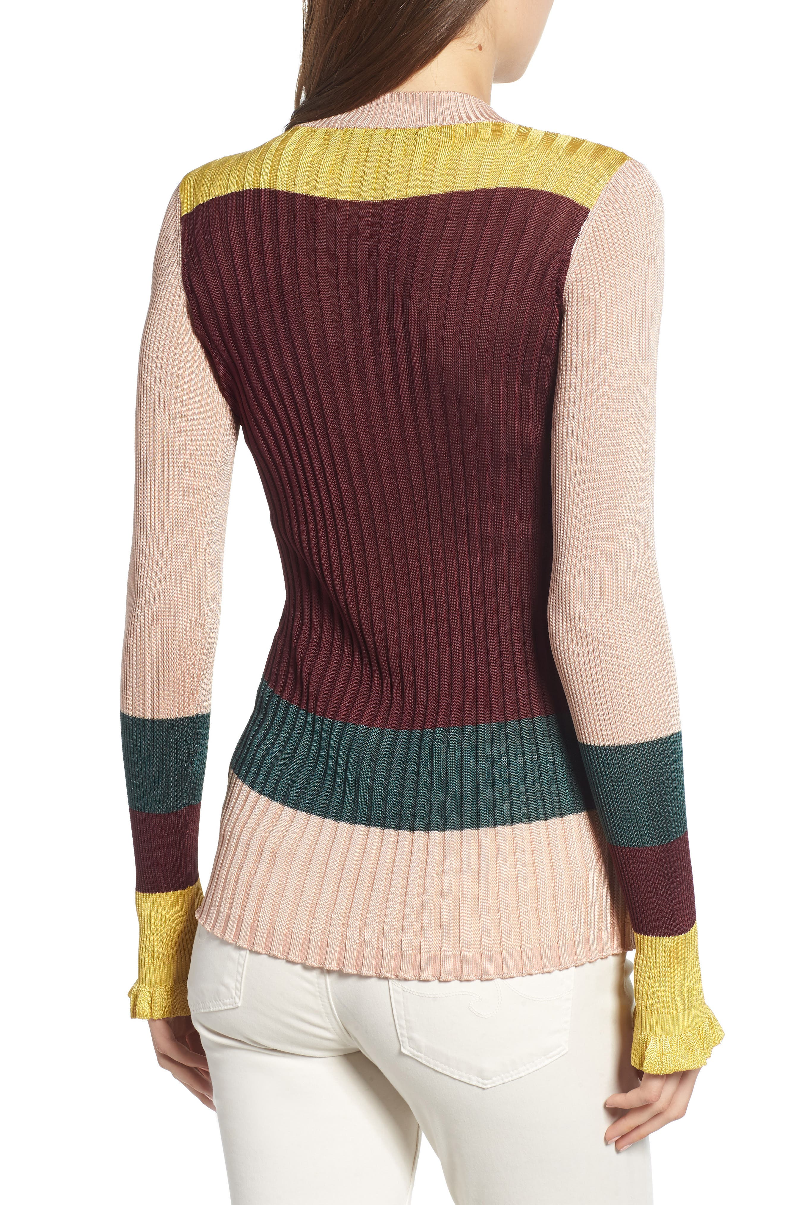 Colorblock Ribbed Sweater,                             Alternate thumbnail 2, color,                             BURGUNDY NUDE YELLOW