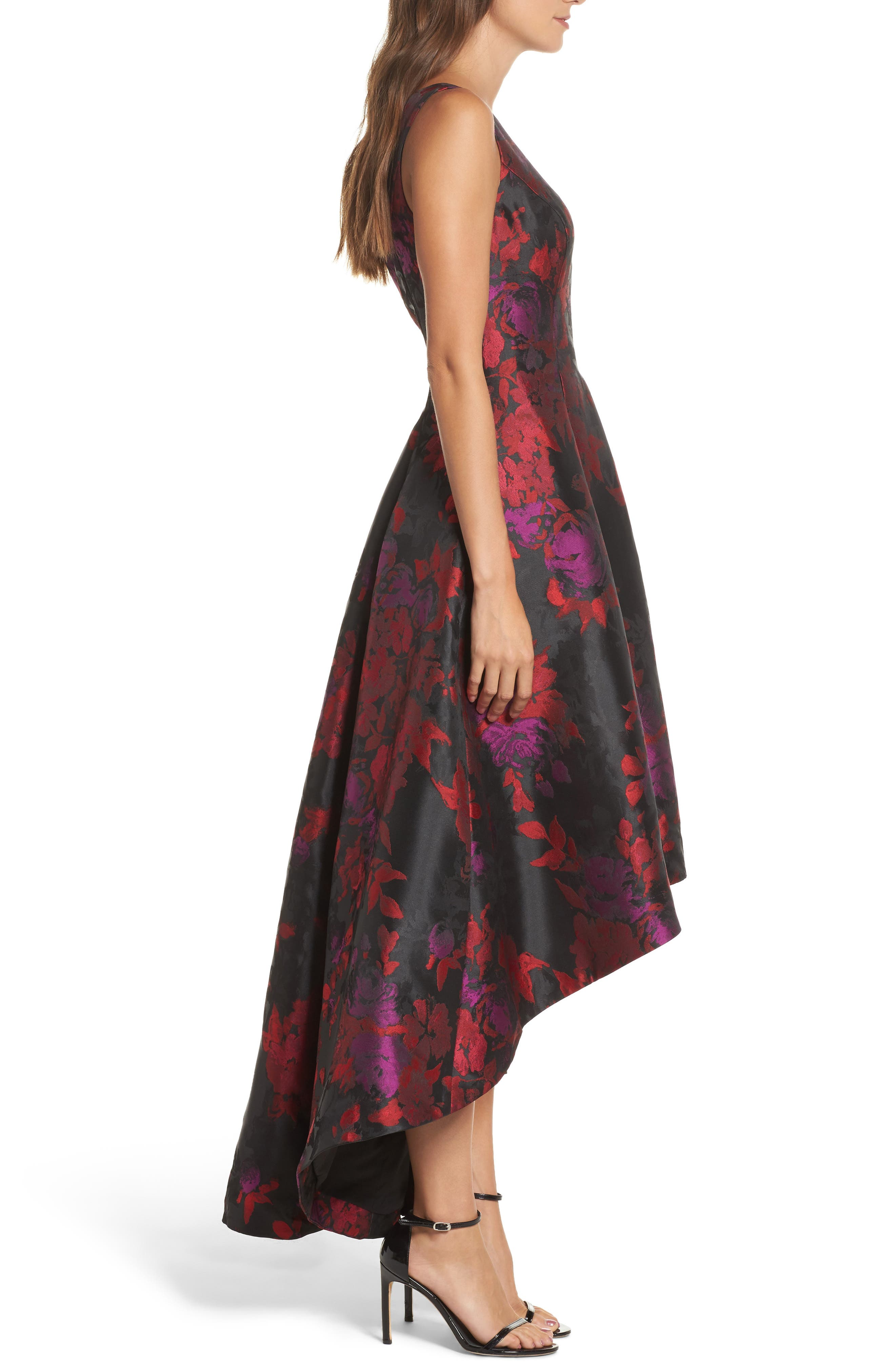 Floral Jacquard High/Low Gown,                             Alternate thumbnail 3, color,                             606