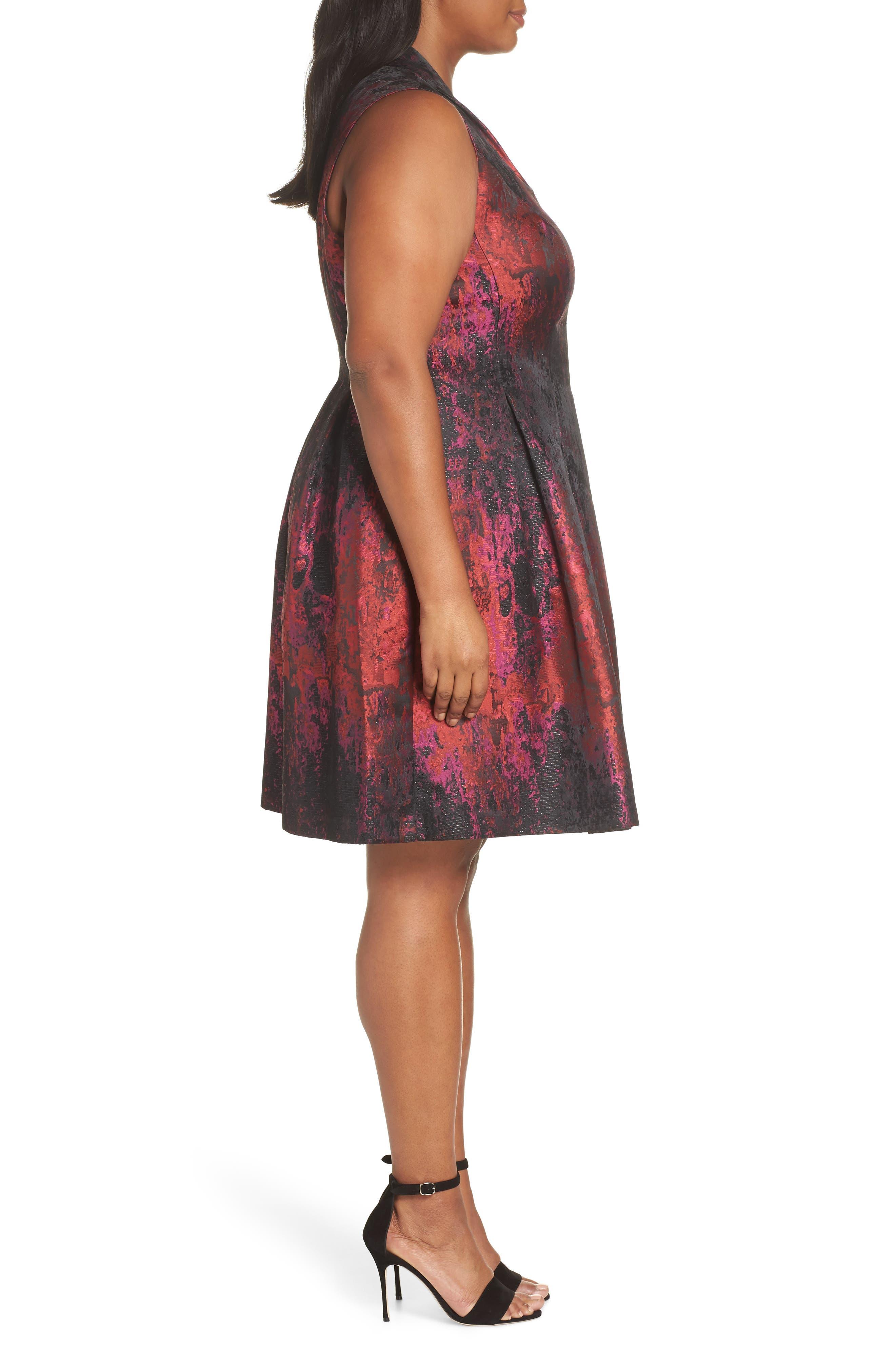 Sleeveless Jacquard Fit & Flare Dress,                             Alternate thumbnail 3, color,                             PINK MULTI