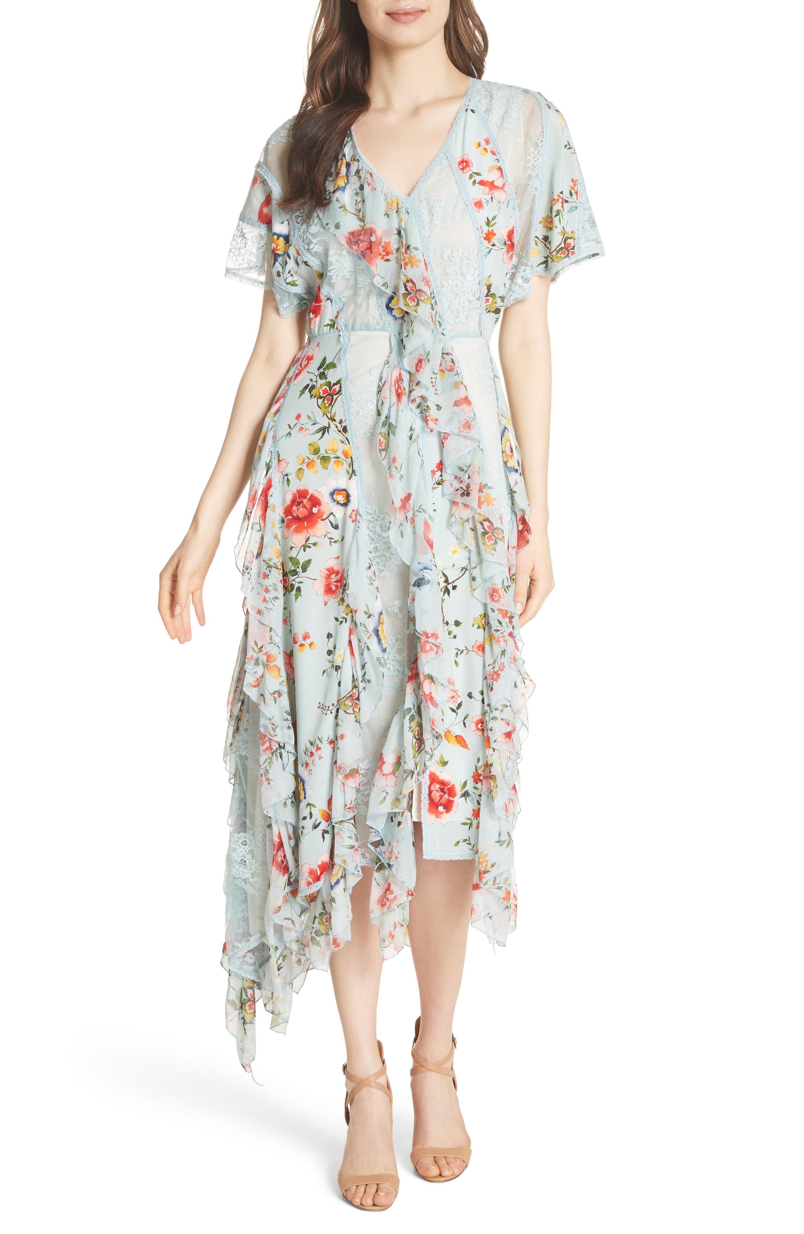 Kadence Ruffled Silk & Lace Midi Dress,                             Main thumbnail 1, color,