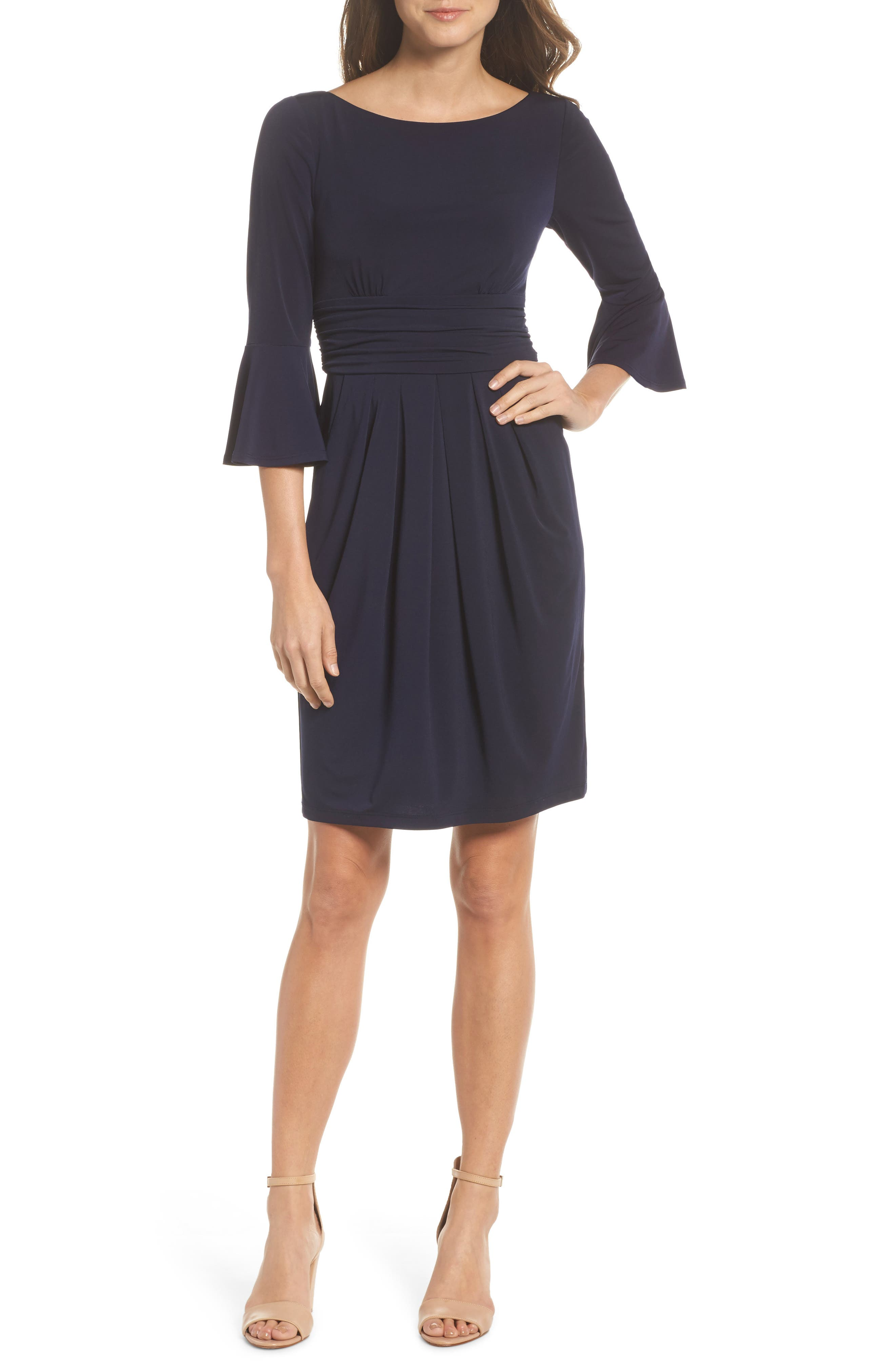 Flounce Sleeve Sheath Dress,                             Main thumbnail 1, color,
