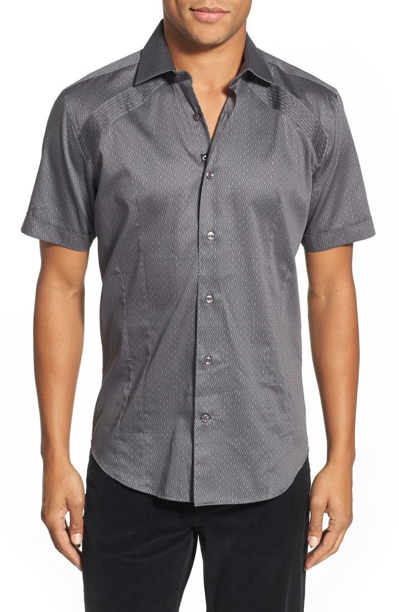 Bogosse  Mini Nate  Shaped Fit Print Short Sleeve Sport Shirt (Tall ... da06964707e