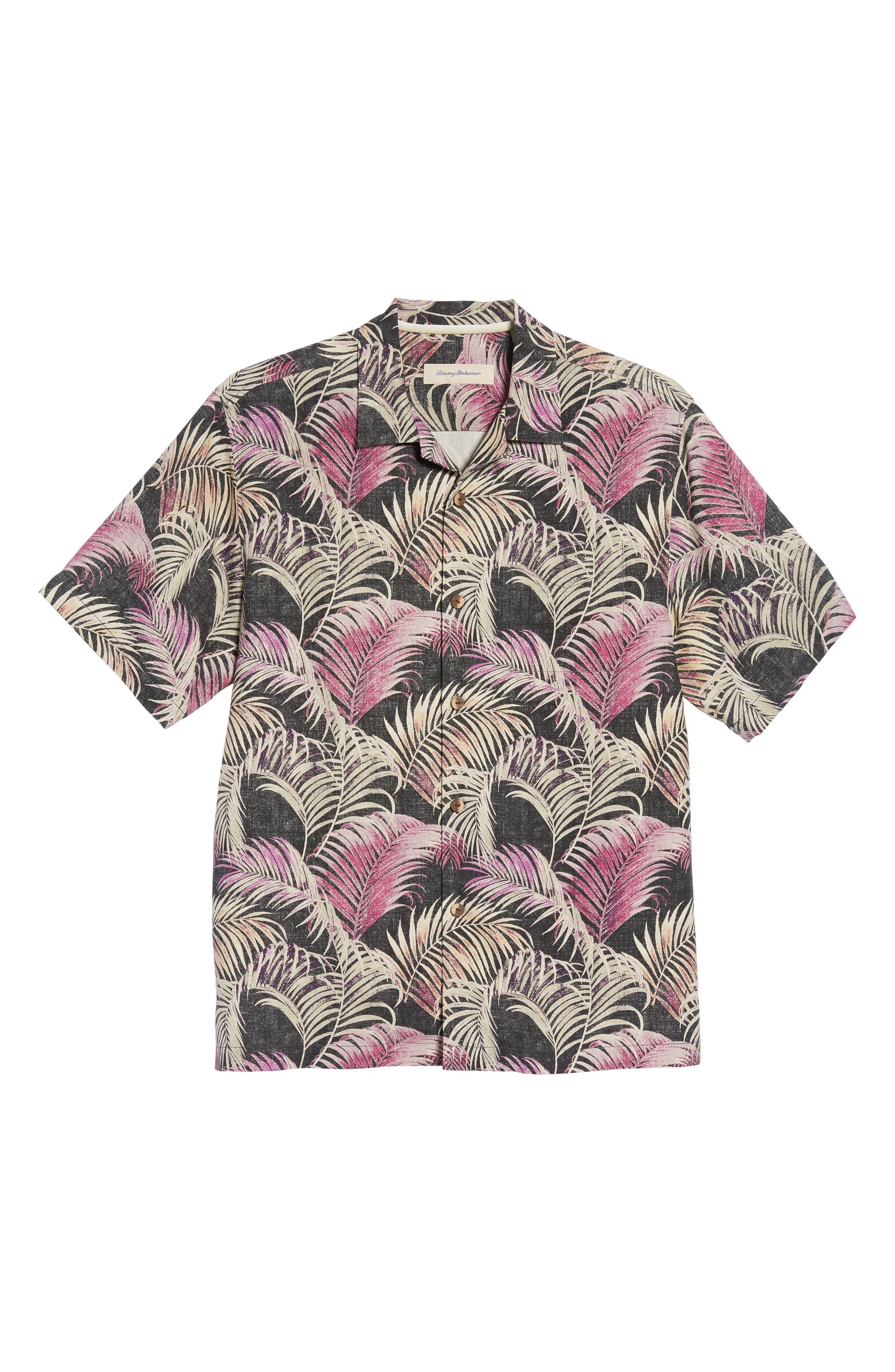 Fez Fronds Standard Fit Silk Camp Shirt,                             Alternate thumbnail 6, color,                             001