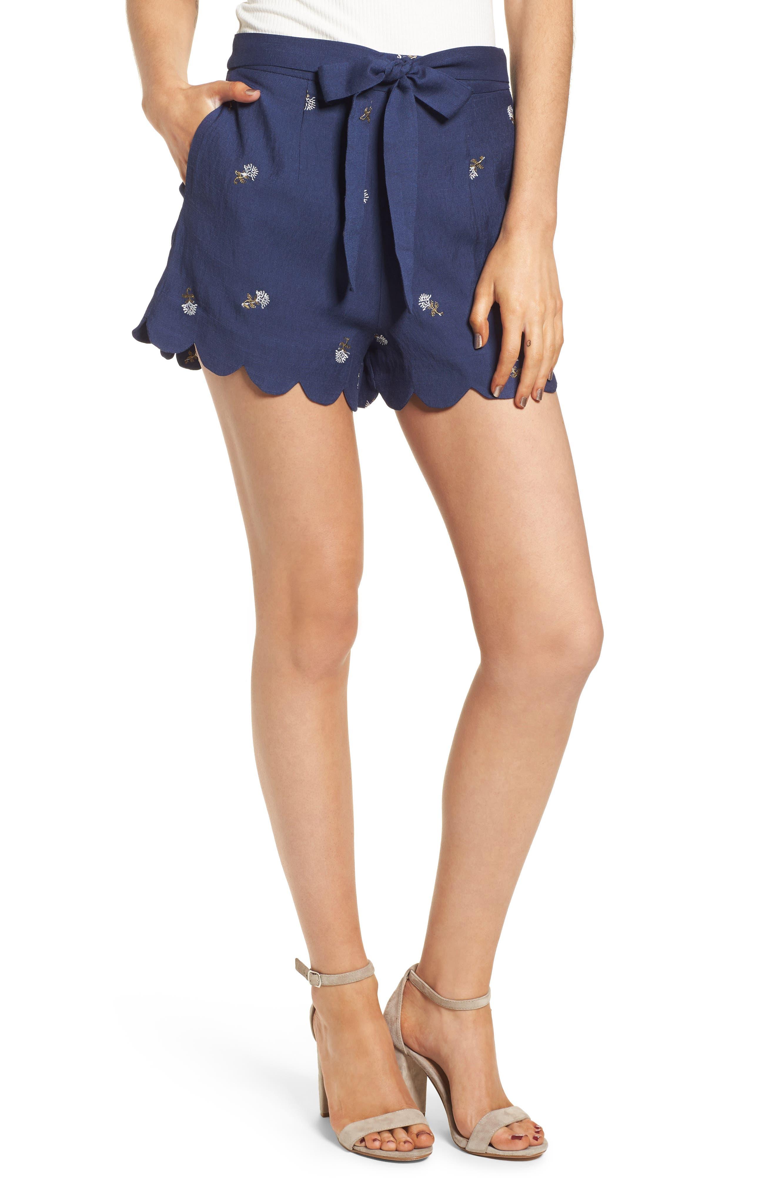 High Waist Scallop Hem Shorts,                             Main thumbnail 1, color,                             400