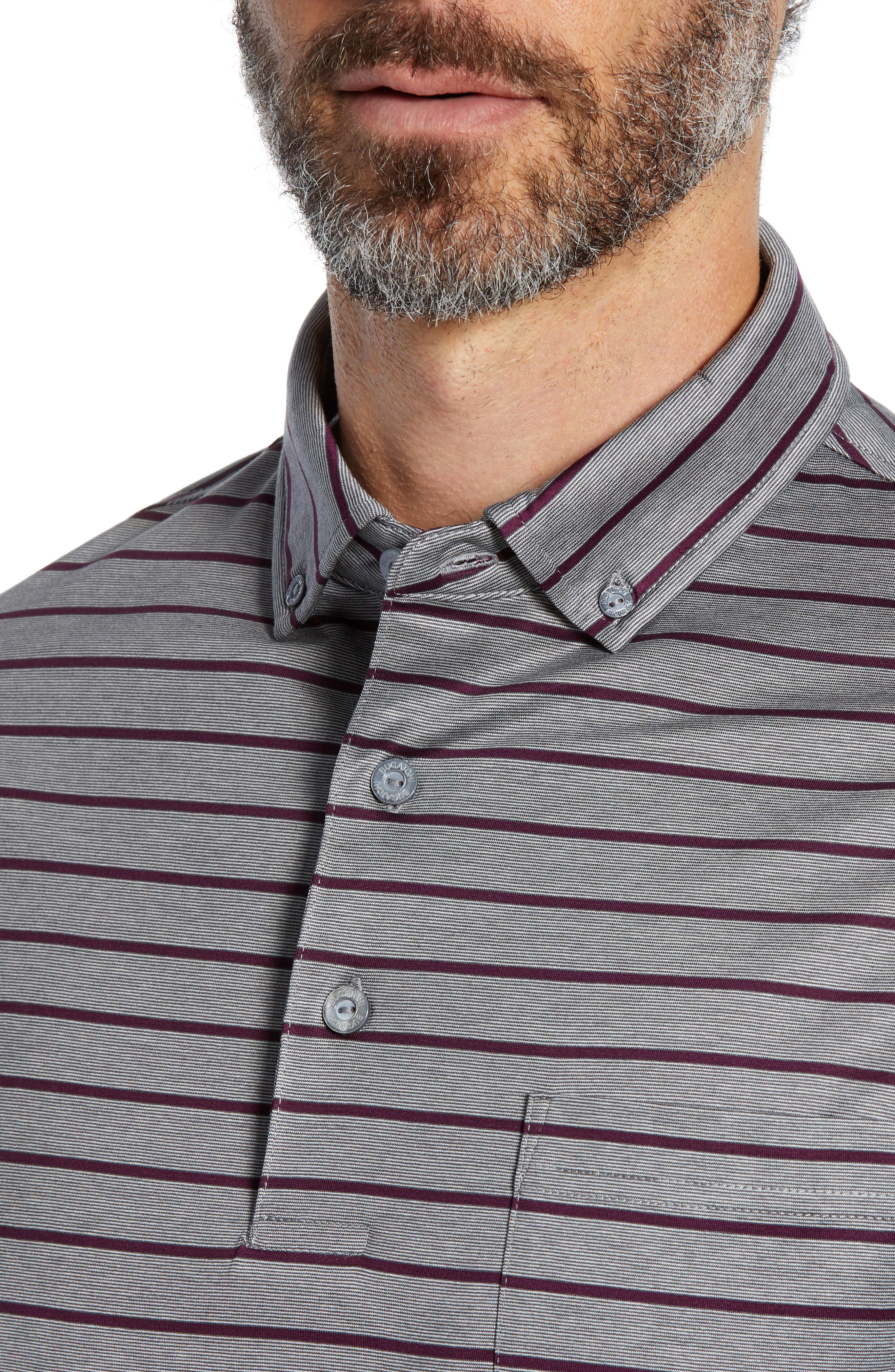 Stripe Knit Polo,                             Alternate thumbnail 4, color,                             PLATINUM