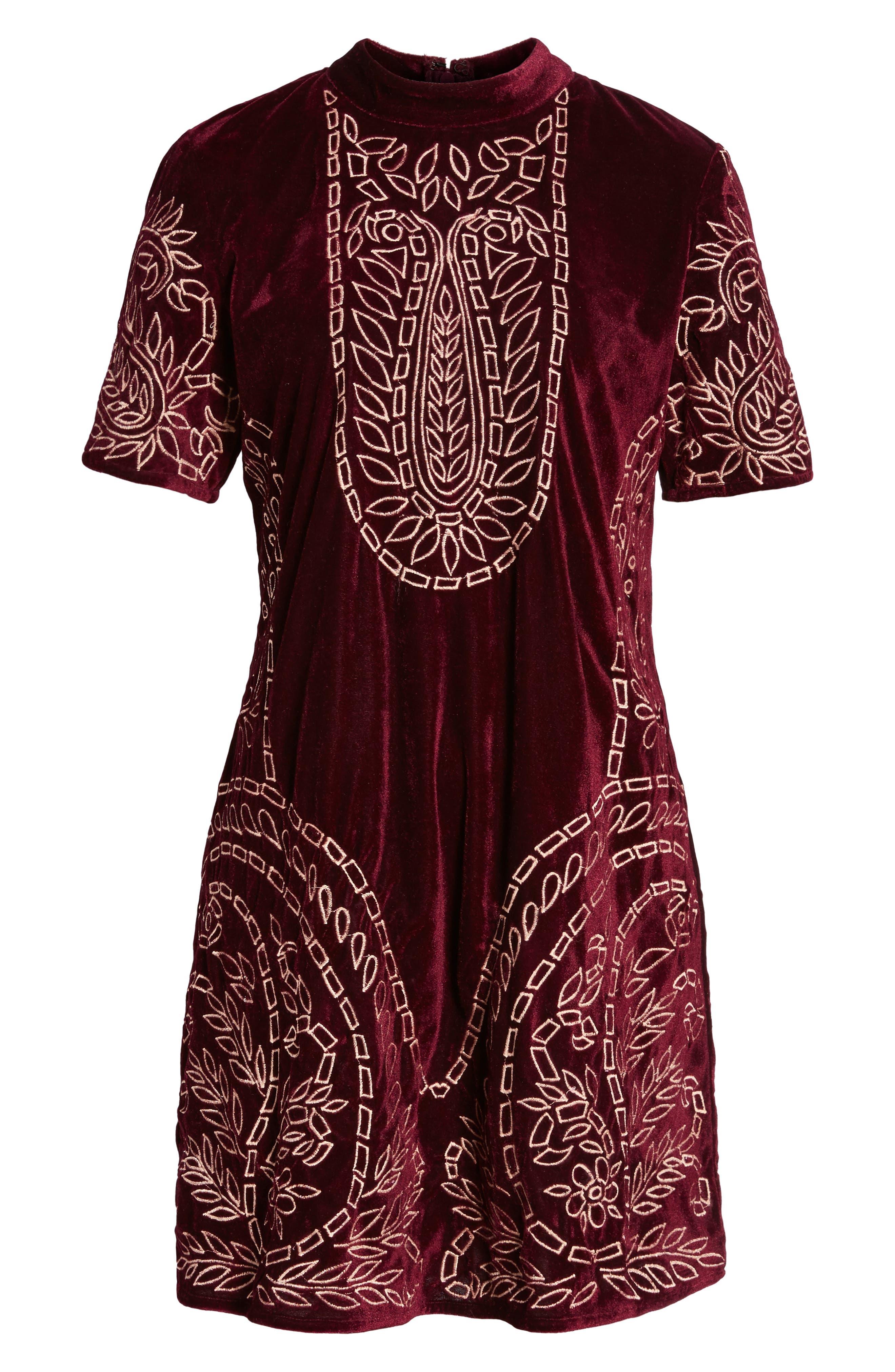 Lily Embroidered Velvet Shift Dress,                             Alternate thumbnail 6, color,