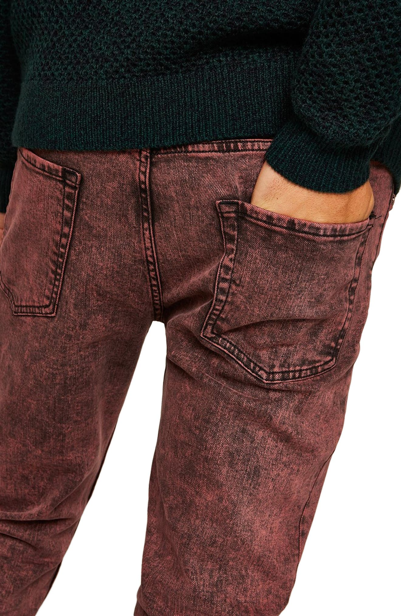 Acid Wash Stretch Skinny Jeans,                             Alternate thumbnail 3, color,                             RED