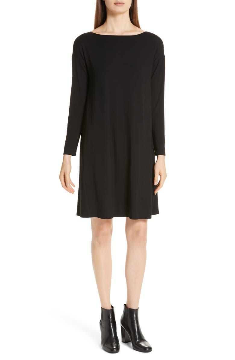 Shop Eileen Fisher Bateau T Shirt Dress In Black