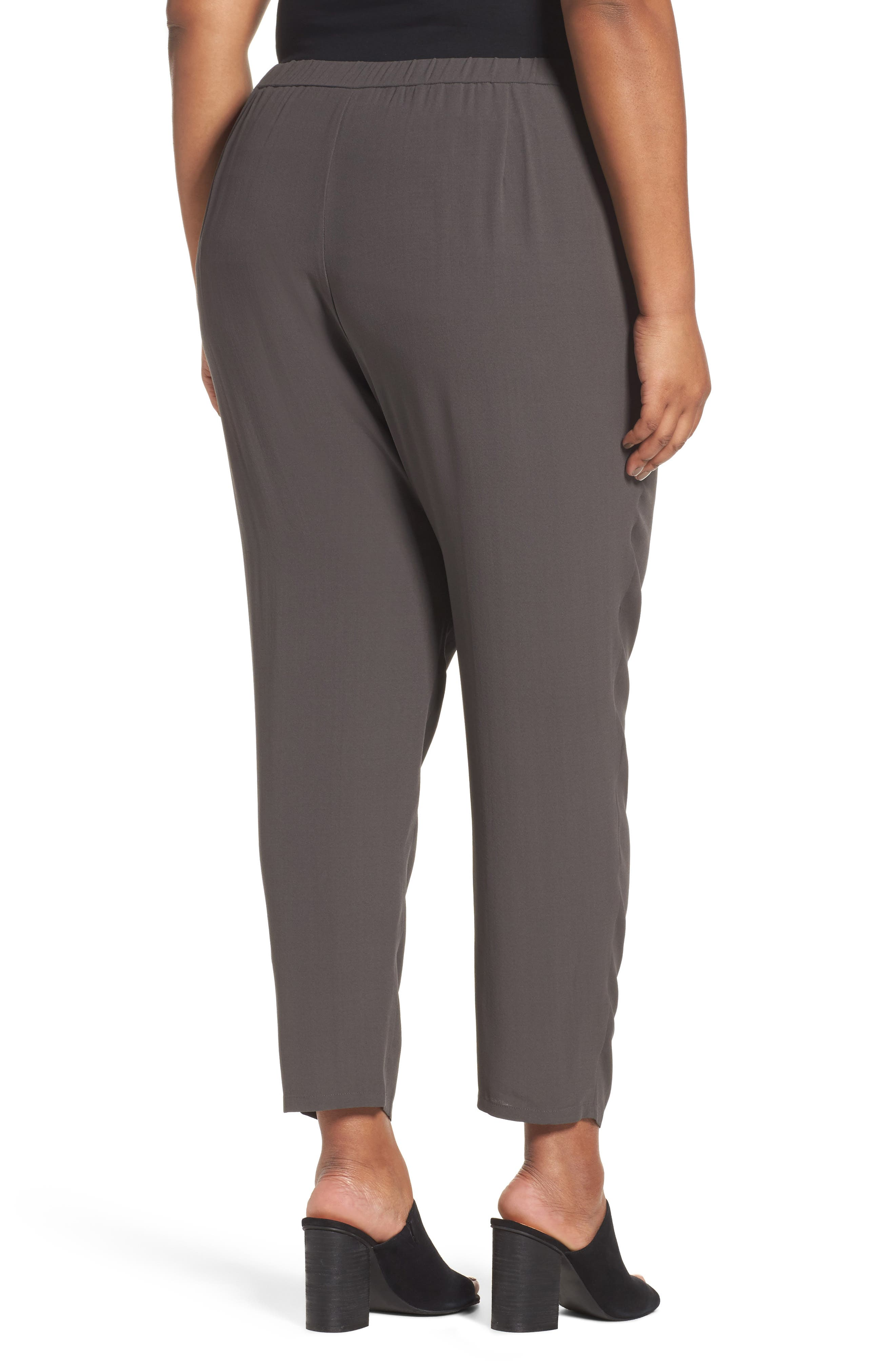 Silk Georgette Crepe Ankle Pants,                             Alternate thumbnail 2, color,                             021