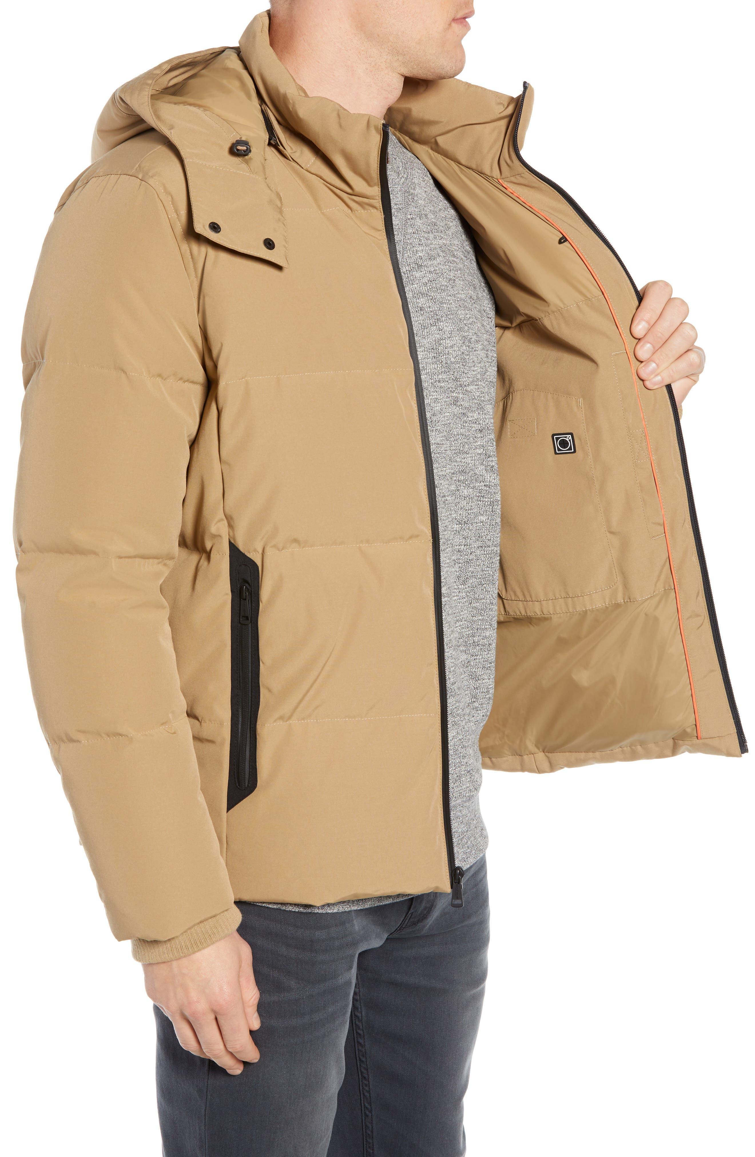 Hooded Puffer Jacket,                             Alternate thumbnail 3, color,                             KHAKI