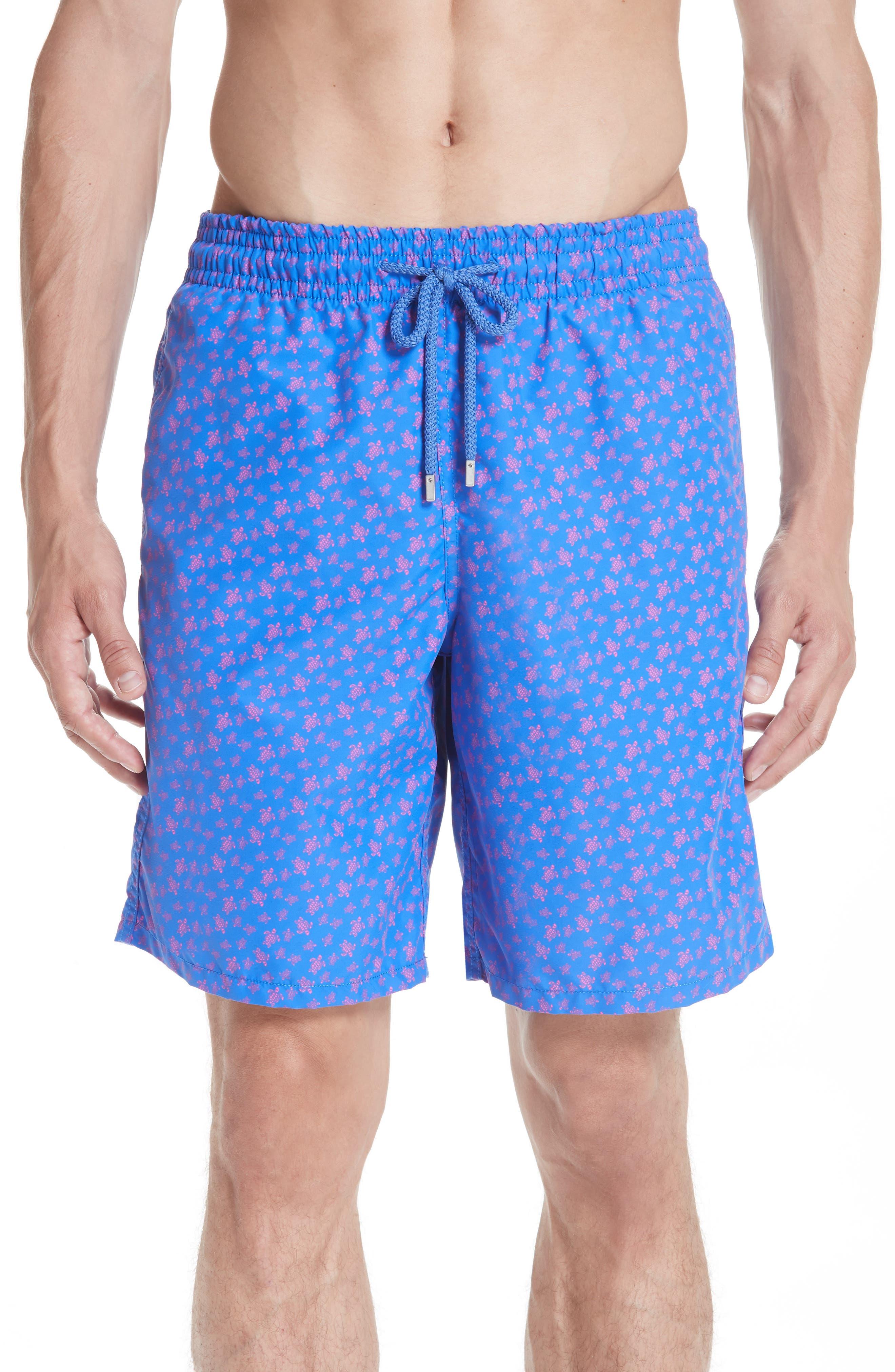 VILEBREQUIN Micro Ronde Turtle Print Swim Trunks, Main, color, BLUE