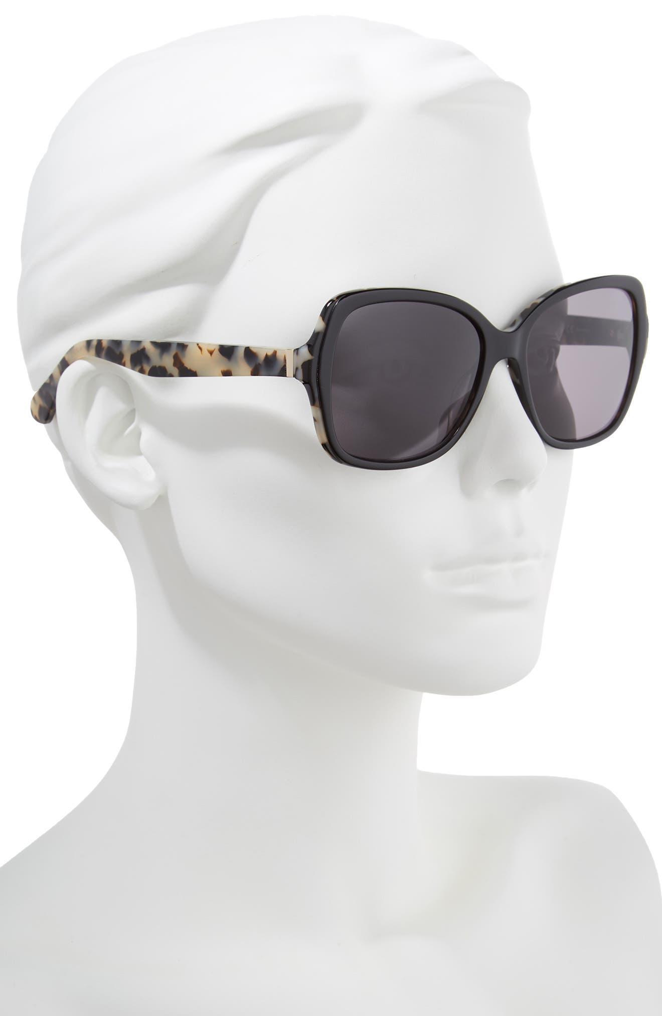 karalyns 56mm oversized sunglasses,                             Alternate thumbnail 2, color,                             BLACK HAVANA POLAR