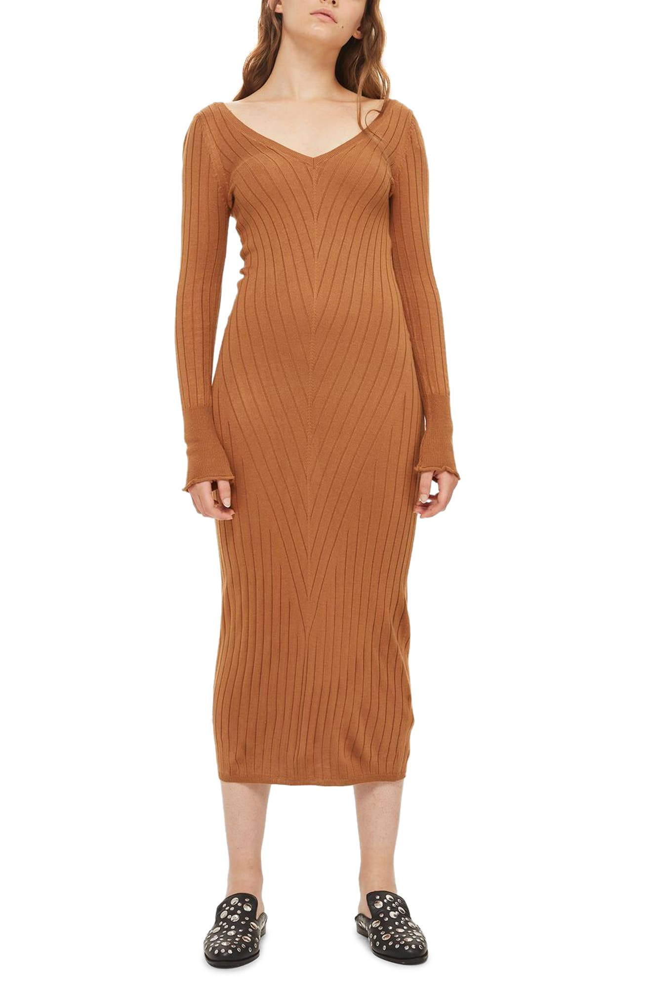 Double V-Neck Ribbed Midi Dress,                             Main thumbnail 1, color,                             252