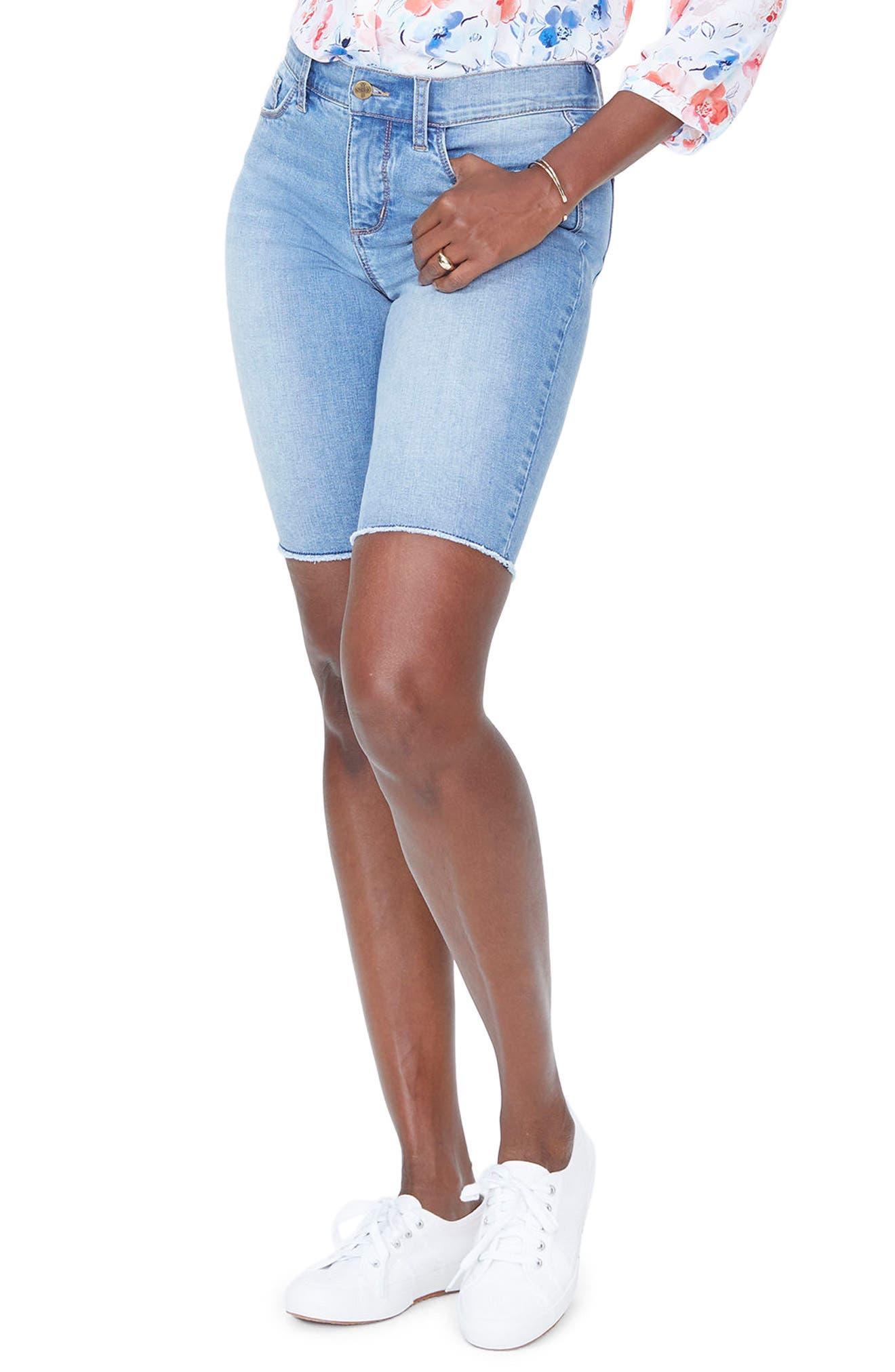Briella Frayed Hem Denim Bermuda Shorts,                             Main thumbnail 2, color,