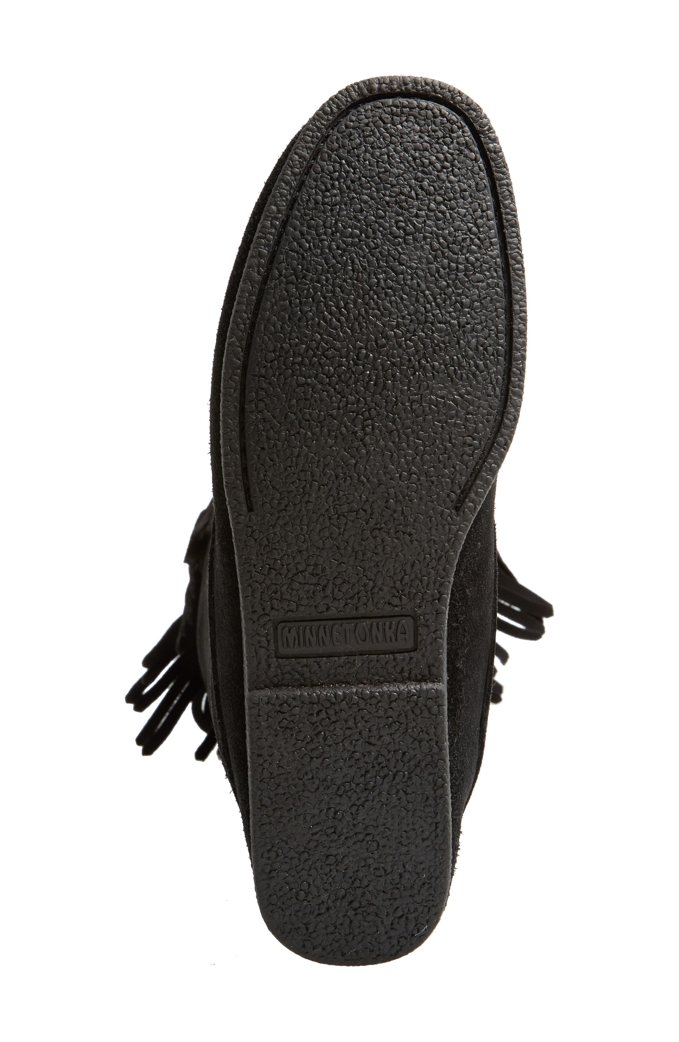 Knee High Moccasin Boot,                             Alternate thumbnail 6, color,                             BLACK SUEDE