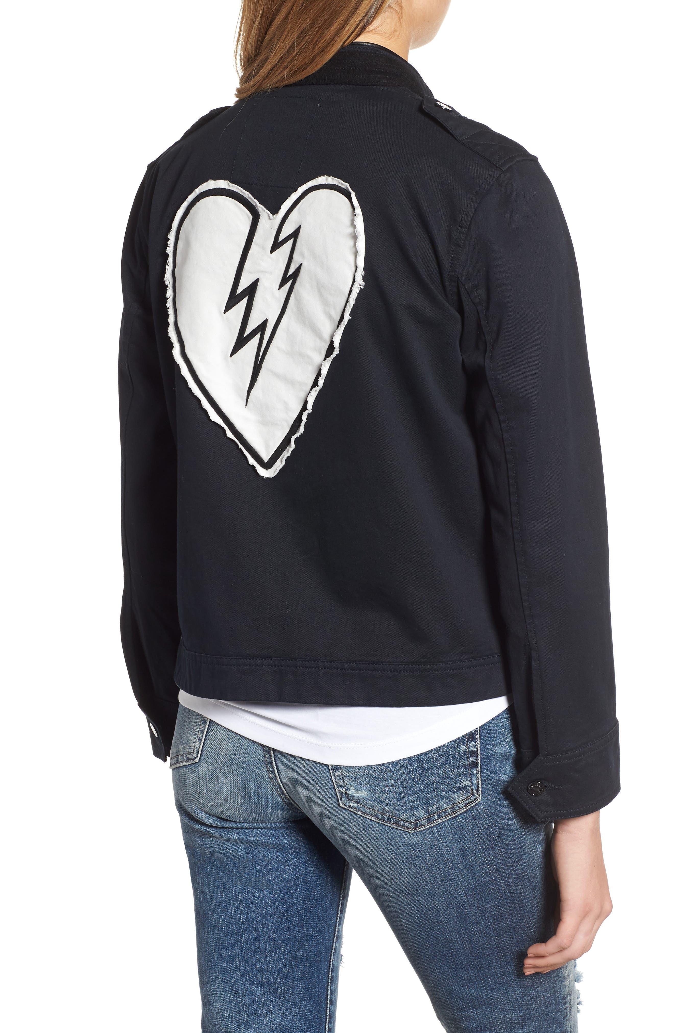ZADIG & VOLTAIRE,                             Kavy Spi Embroidered Jacket,                             Alternate thumbnail 2, color,                             001