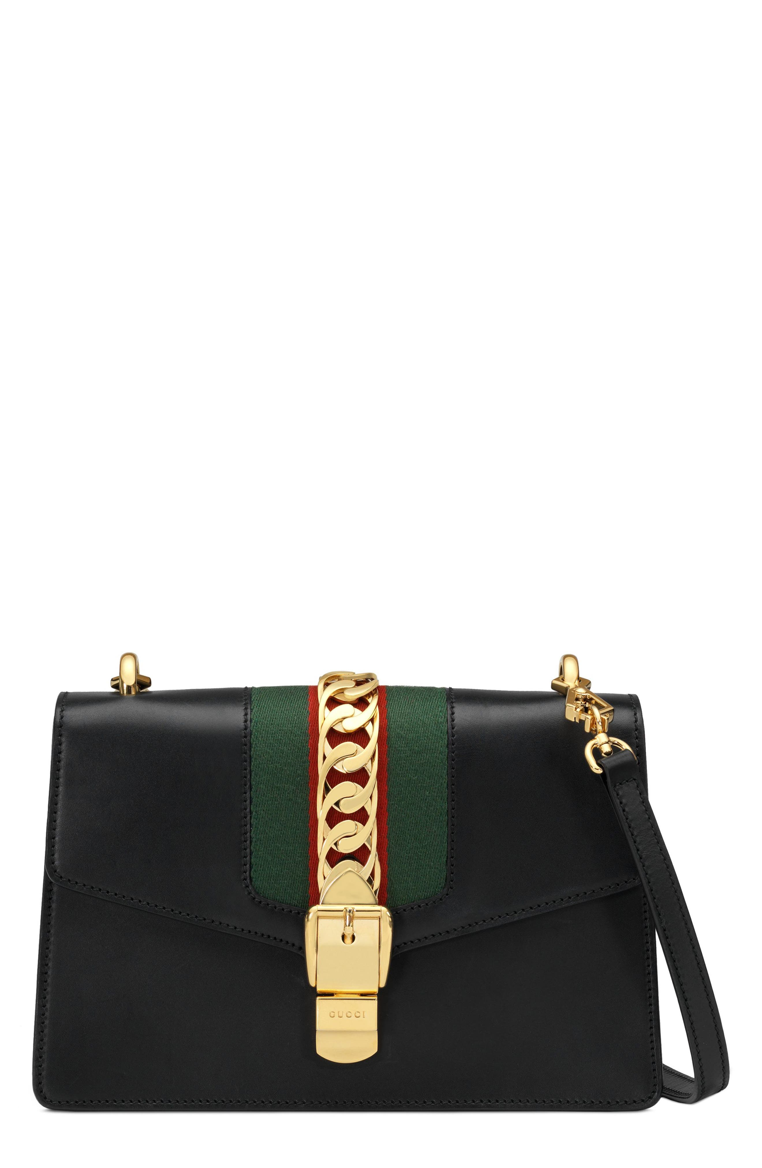 GUCCI,                             Sylvie Leather Crossbody Strap,                             Alternate thumbnail 2, color,                             NERO