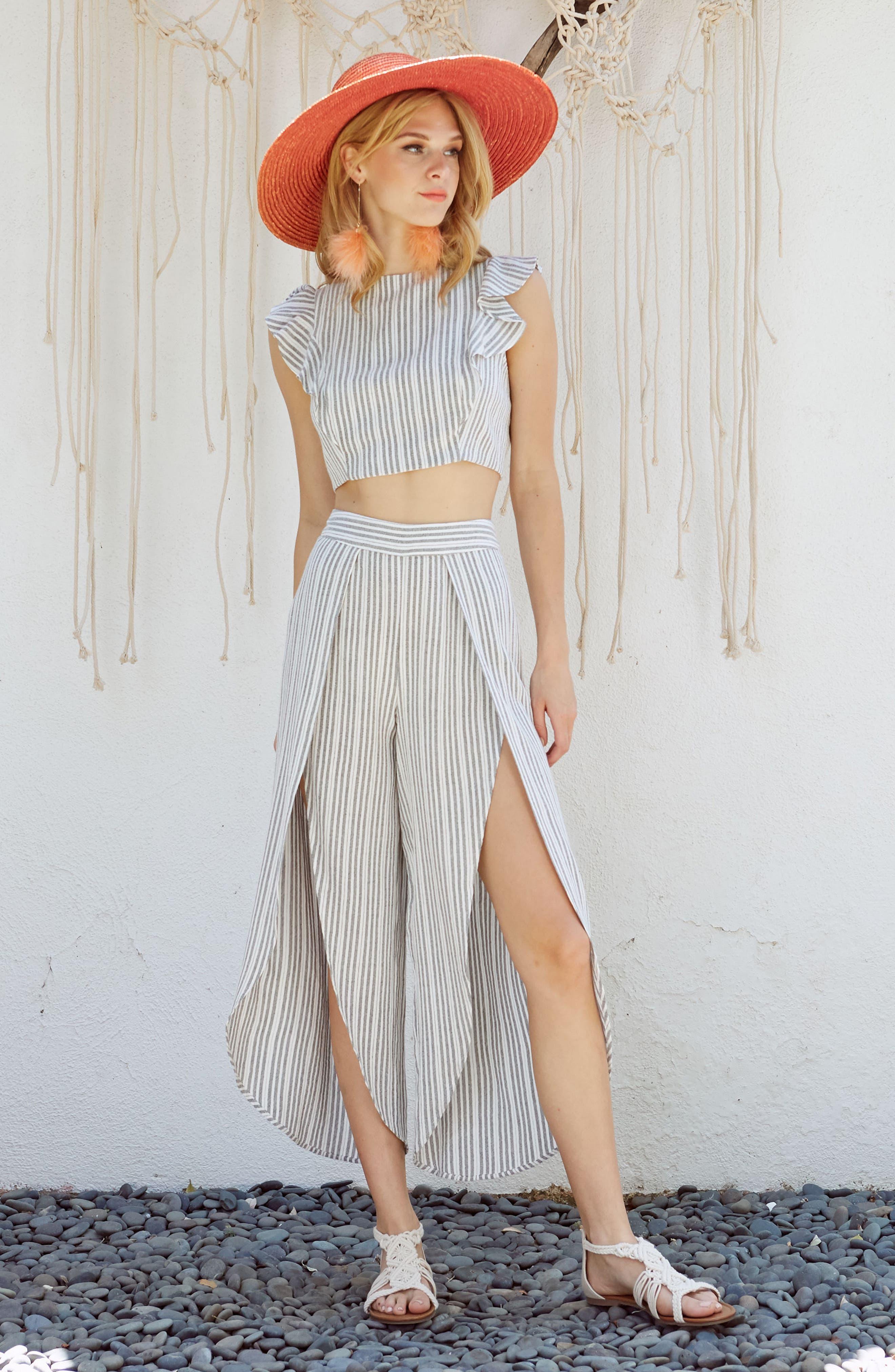Kika Stripe Split Culottes,                             Alternate thumbnail 10, color,
