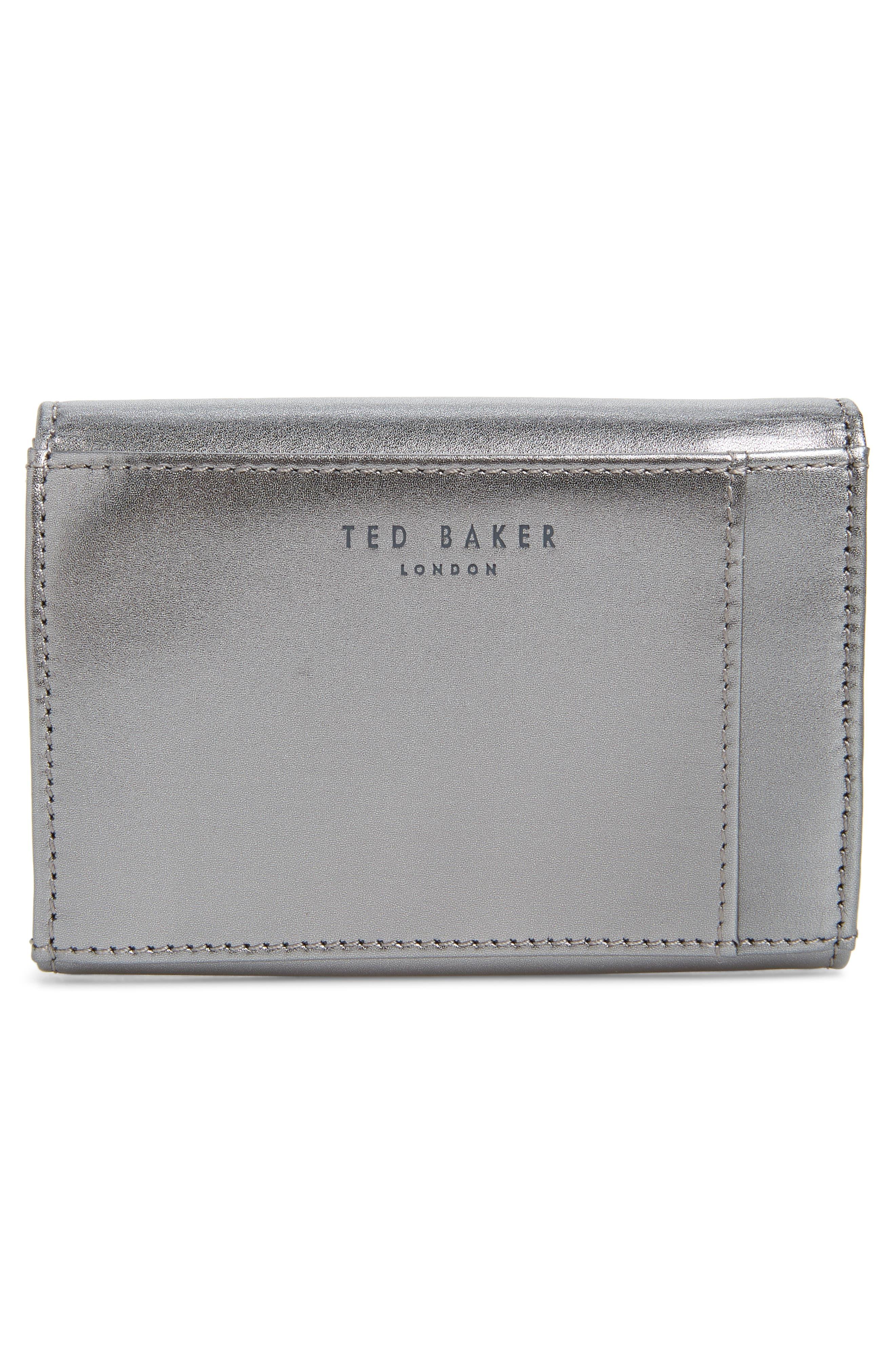 Mini Anki Bow Leather Wallet,                             Alternate thumbnail 4, color,                             GUNMETAL