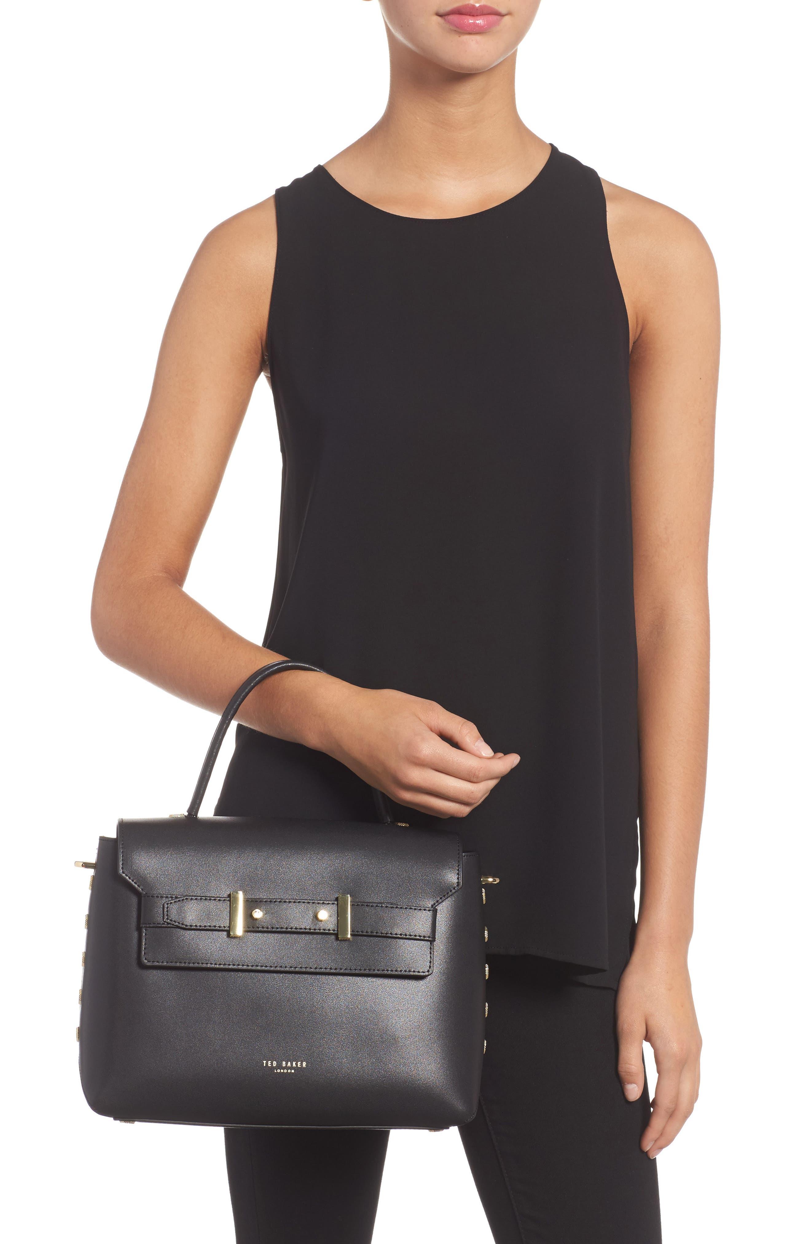 Taymar - Studded Edge Lady Bag Leather Top Handle Satchel,                             Alternate thumbnail 2, color,                             001