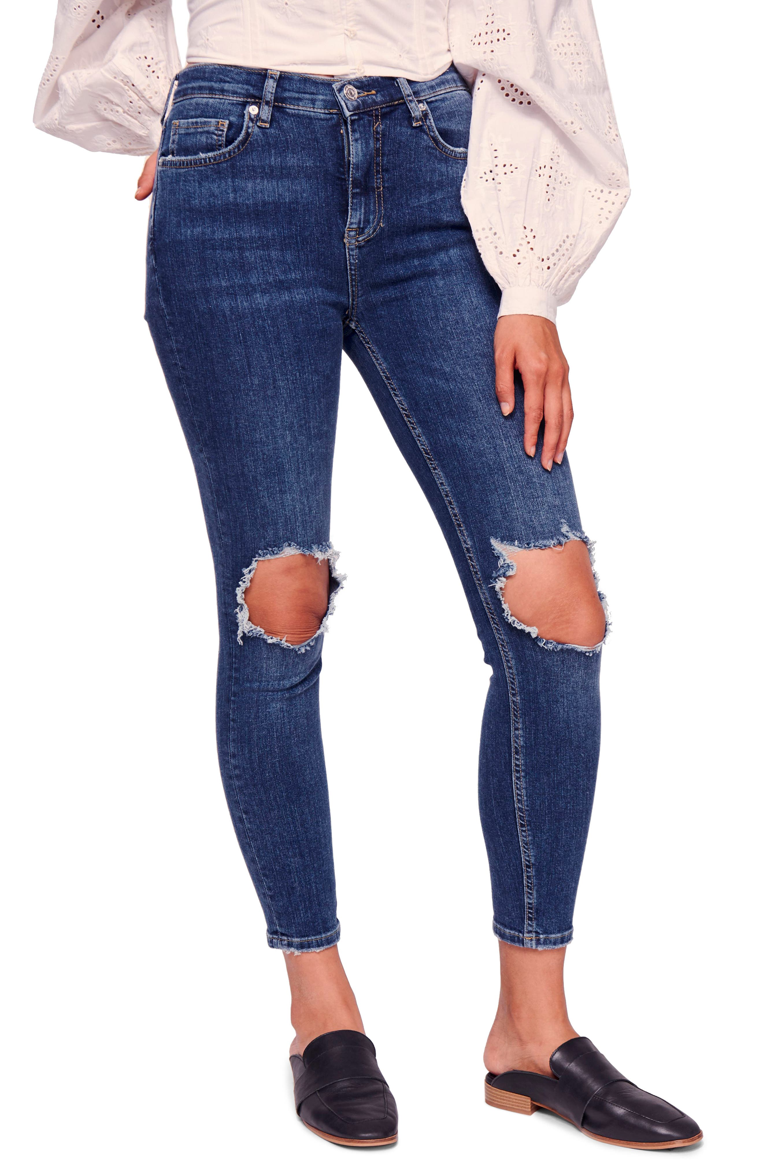 We the Free by Free People Ripped High Waist Ankle Skinny Jeans,                             Main thumbnail 1, color,                             400