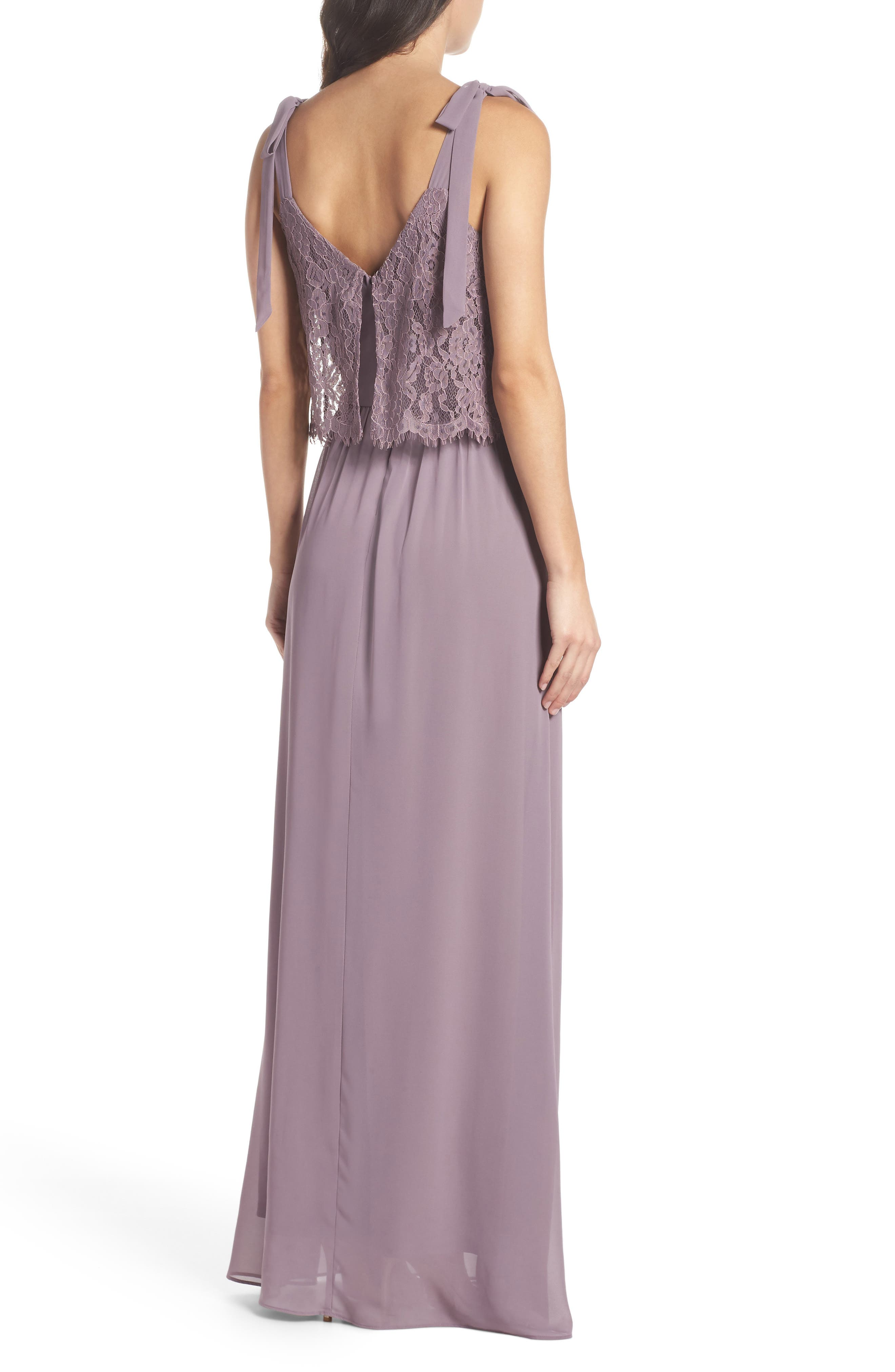 Koko Tie Shoulder Lace Bodice Gown,                             Alternate thumbnail 2, color,                             LILAC