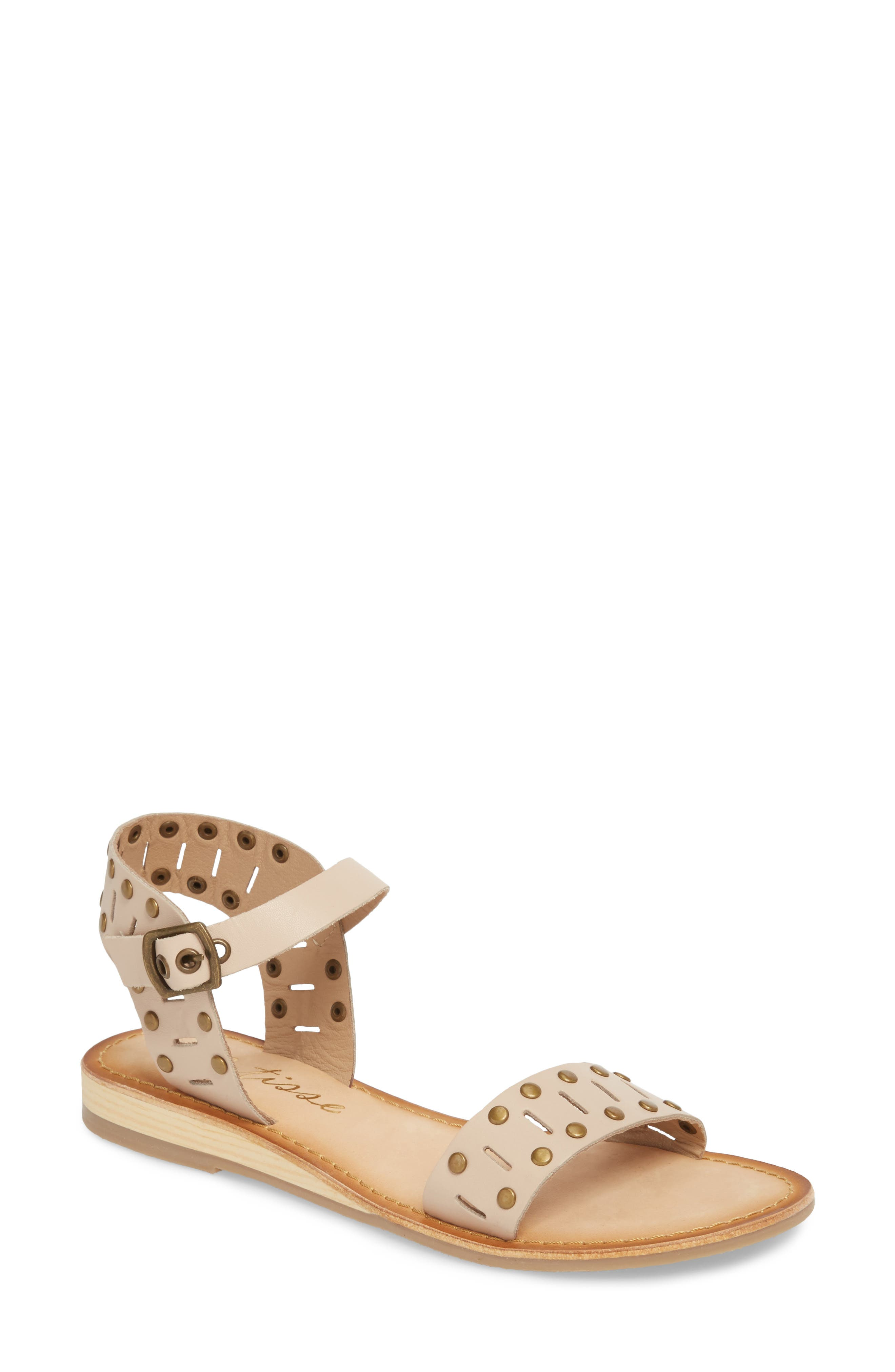 Ravenna Quarter Strap Sandal,                             Main thumbnail 1, color,                             NATURAL LEATHER