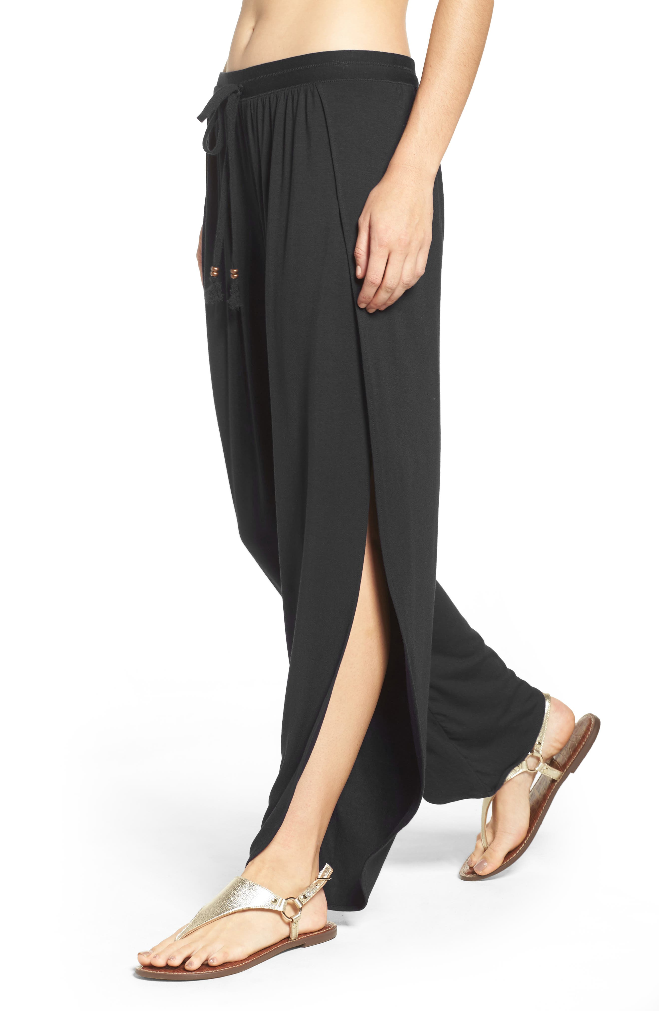 ROBIN PICCONE,                             Side Split Cover-Up Pants,                             Alternate thumbnail 4, color,                             BLACK