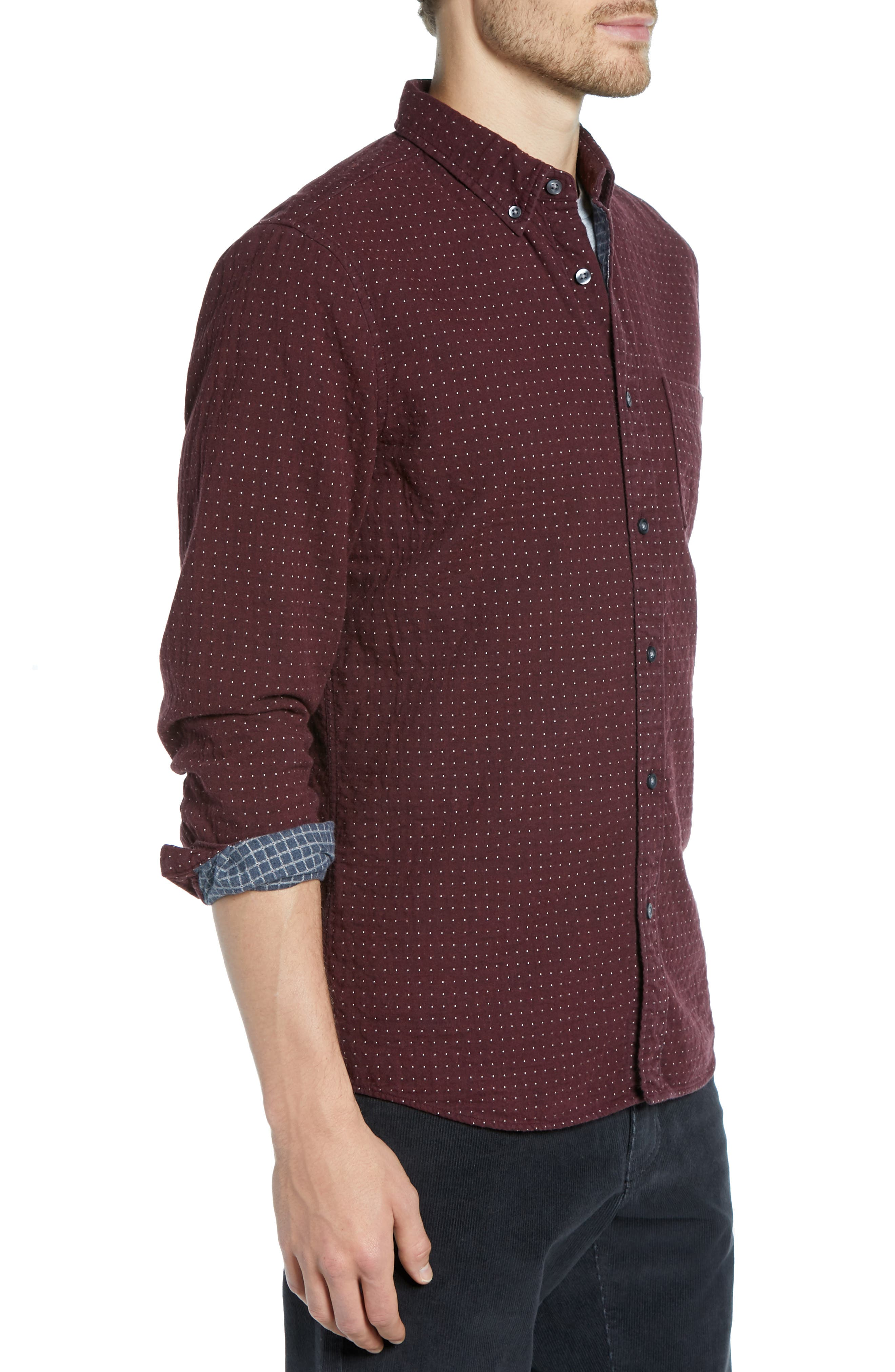 Trim Fit Dot Flannel Sport Shirt,                             Alternate thumbnail 4, color,                             BURGUNDY ROYALE GREY DUOFOLD