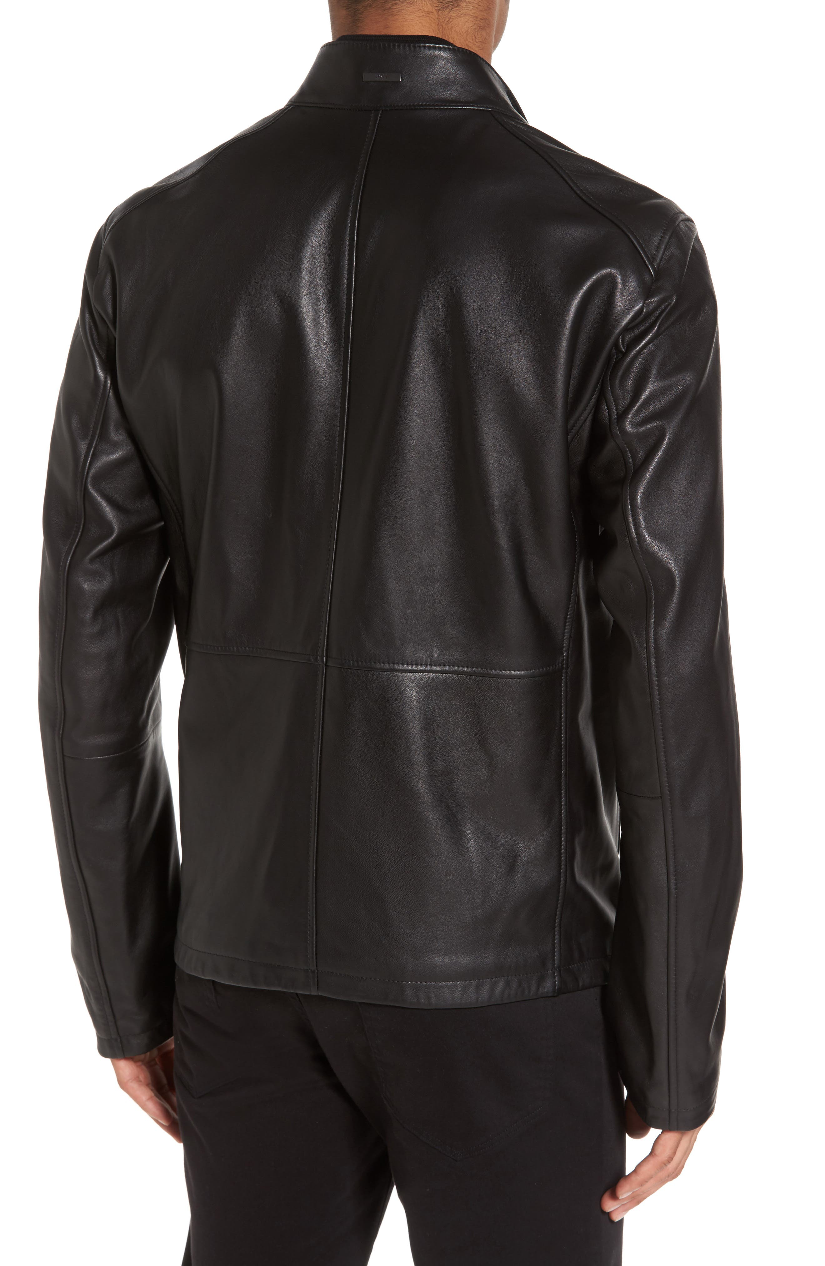 Collar Inset Leather Jacket,                             Alternate thumbnail 2, color,                             001