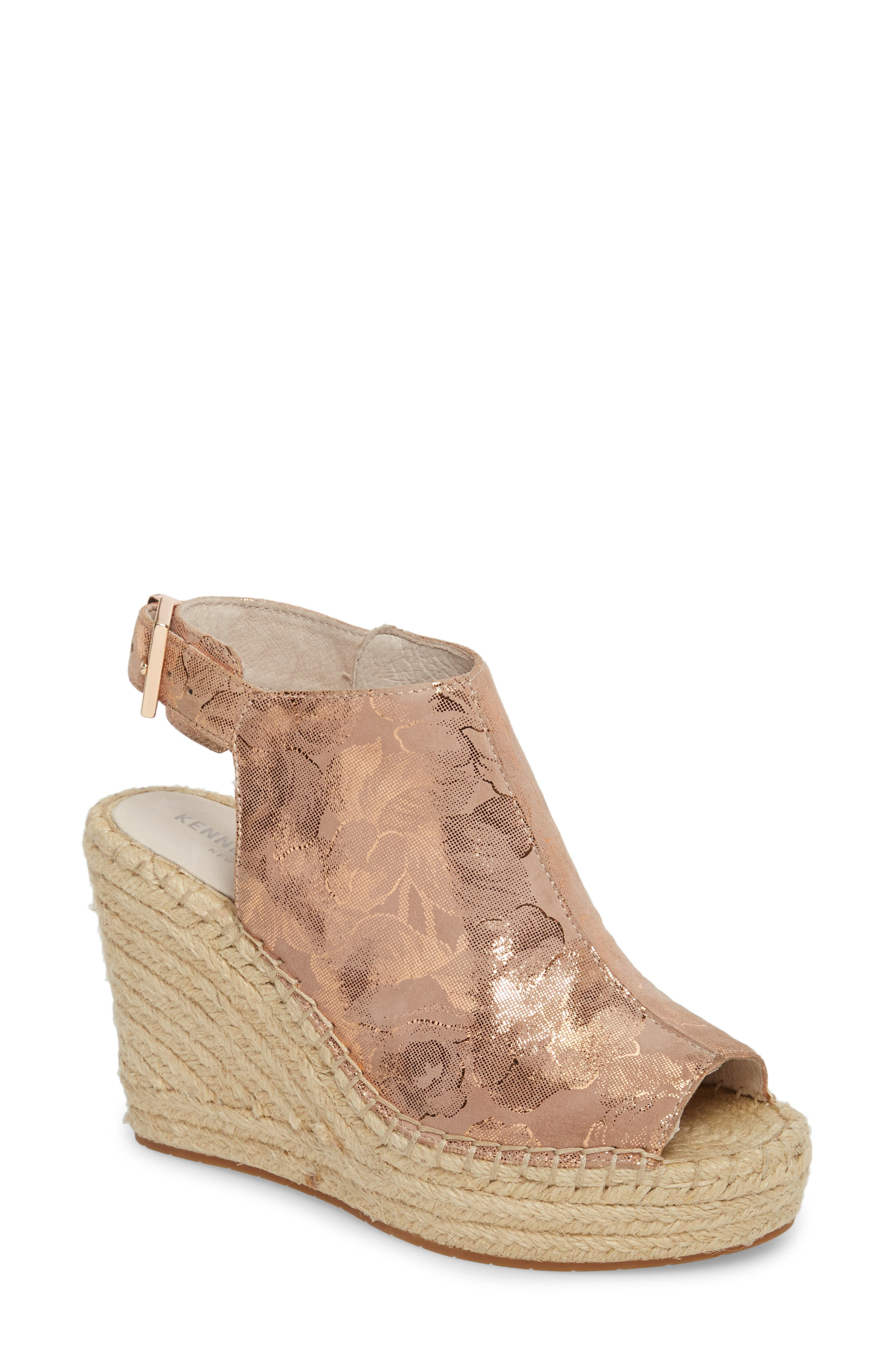 'Olivia' Wedge Sandal,                             Main thumbnail 1, color,                             ROSE GOLD LEATHER