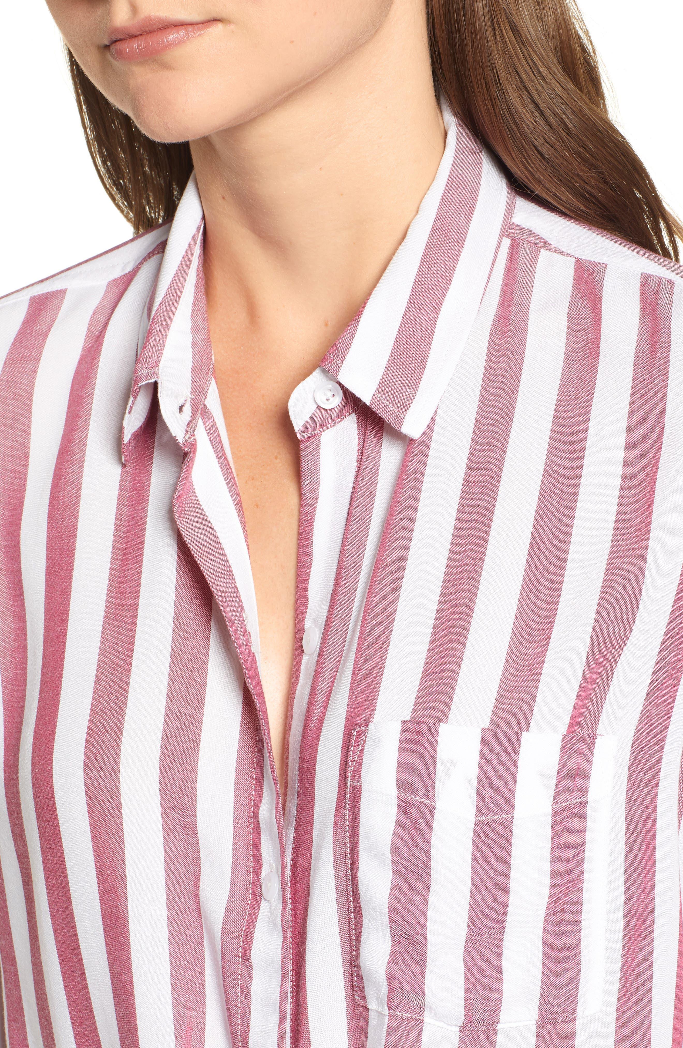 Val Tie Front Shirt,                             Alternate thumbnail 4, color,                             DALI STRIPE