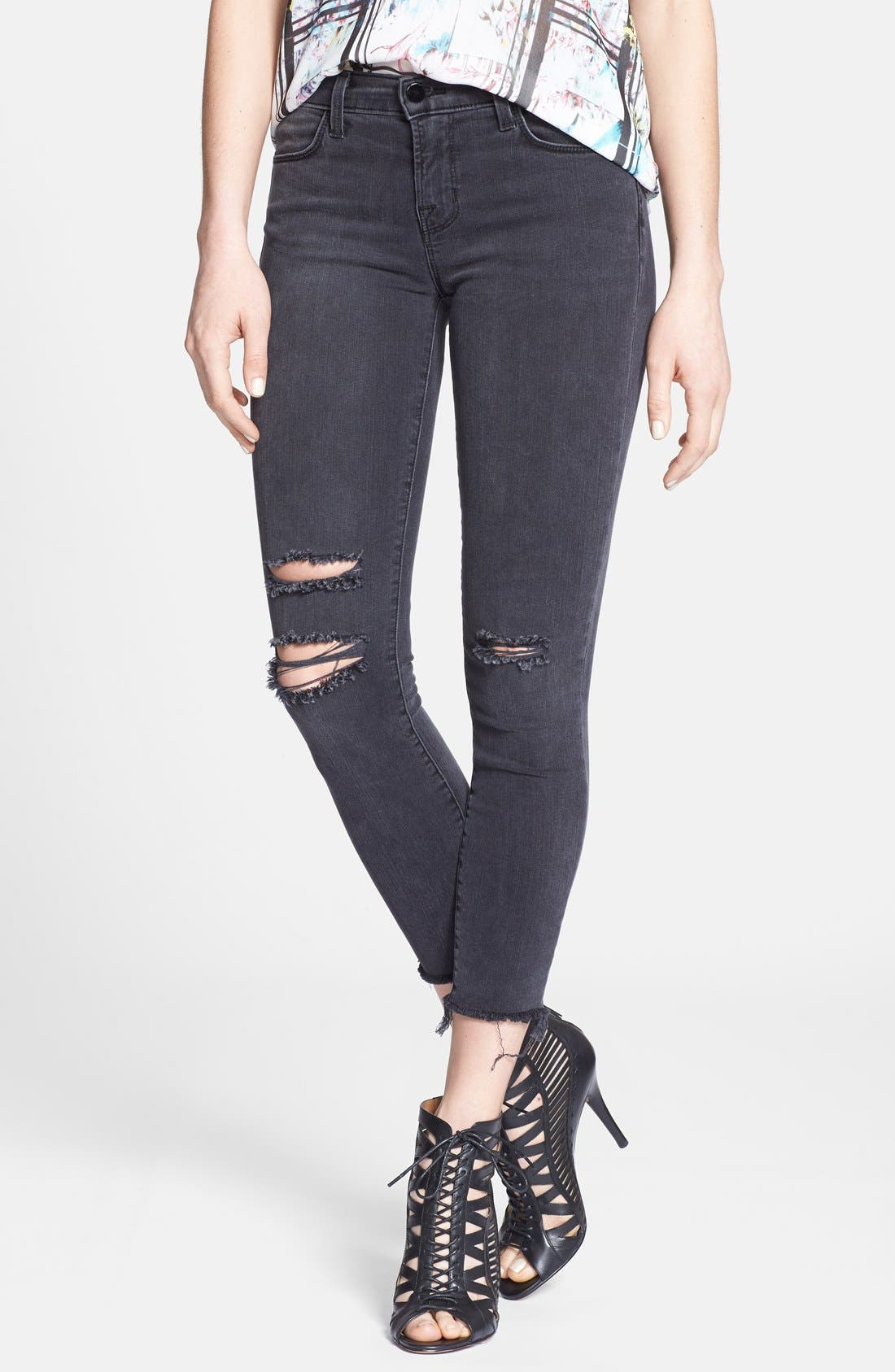 Distressed Crop Skinny Jeans,                             Main thumbnail 1, color,                             001