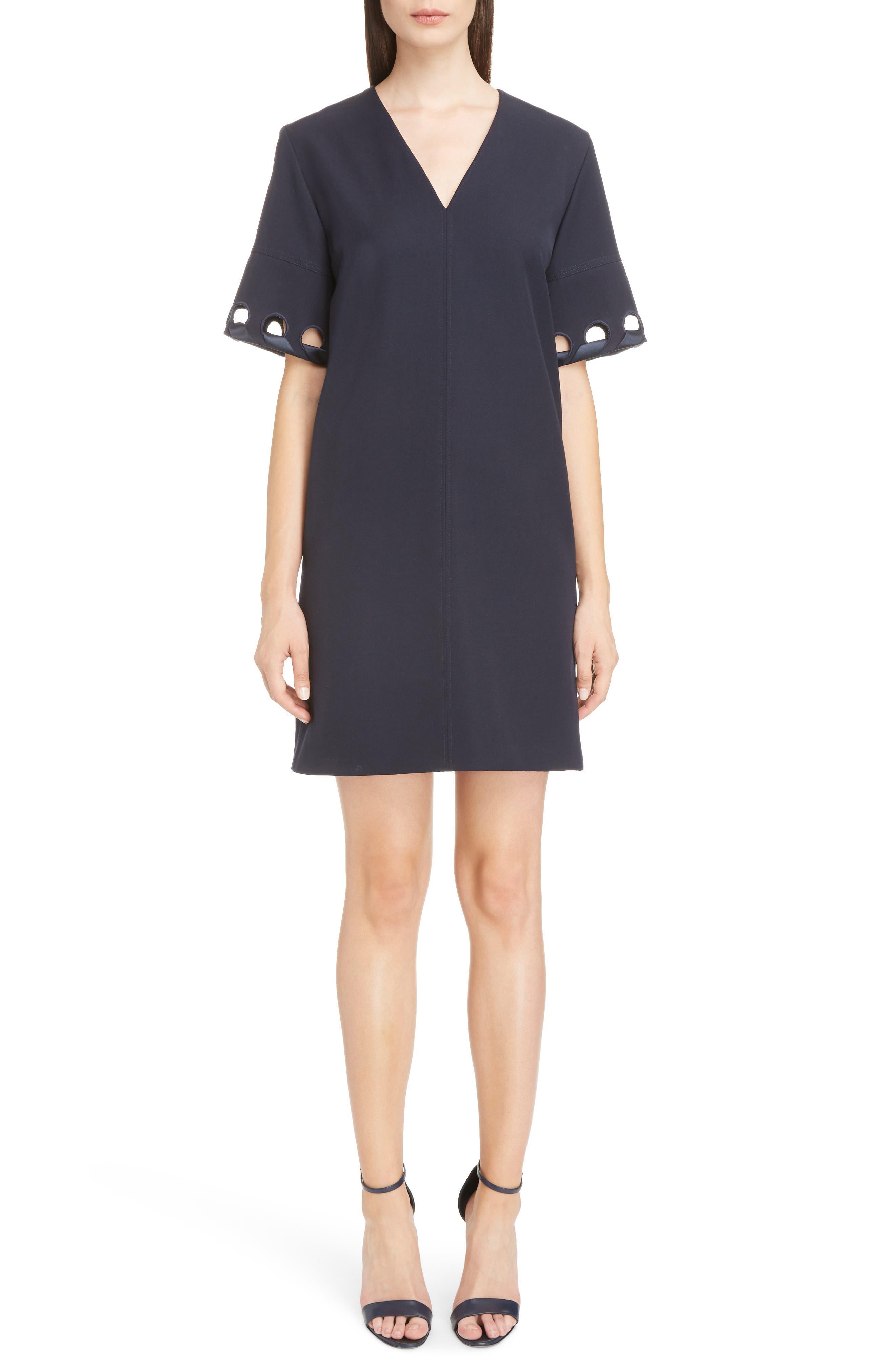 Lace Sleeve Wool Shift Dress,                             Main thumbnail 1, color,                             400