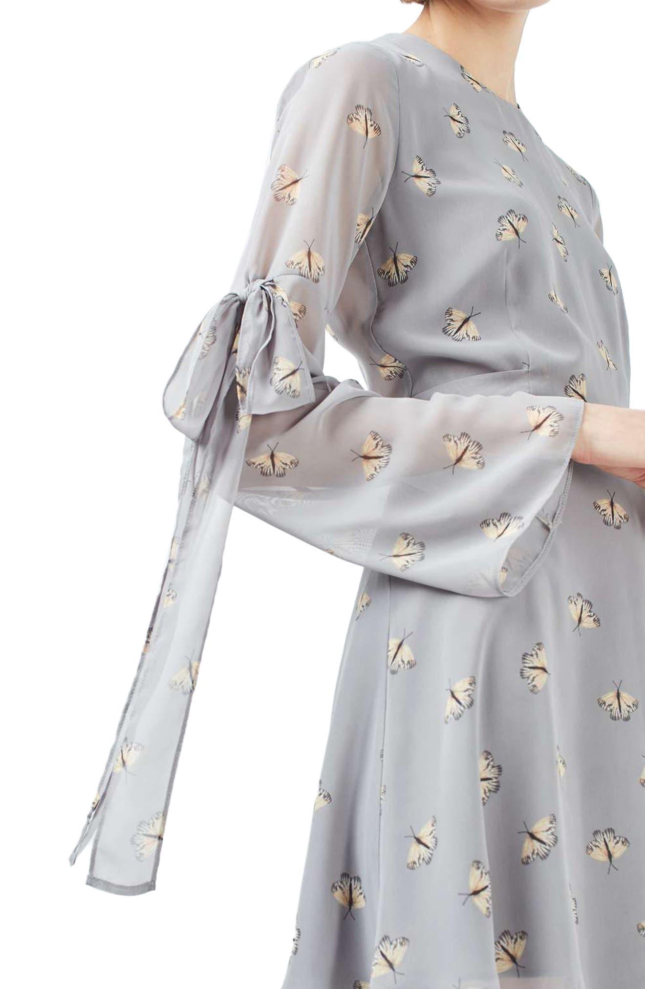 Moth Print Skater Dress,                             Alternate thumbnail 3, color,                             050