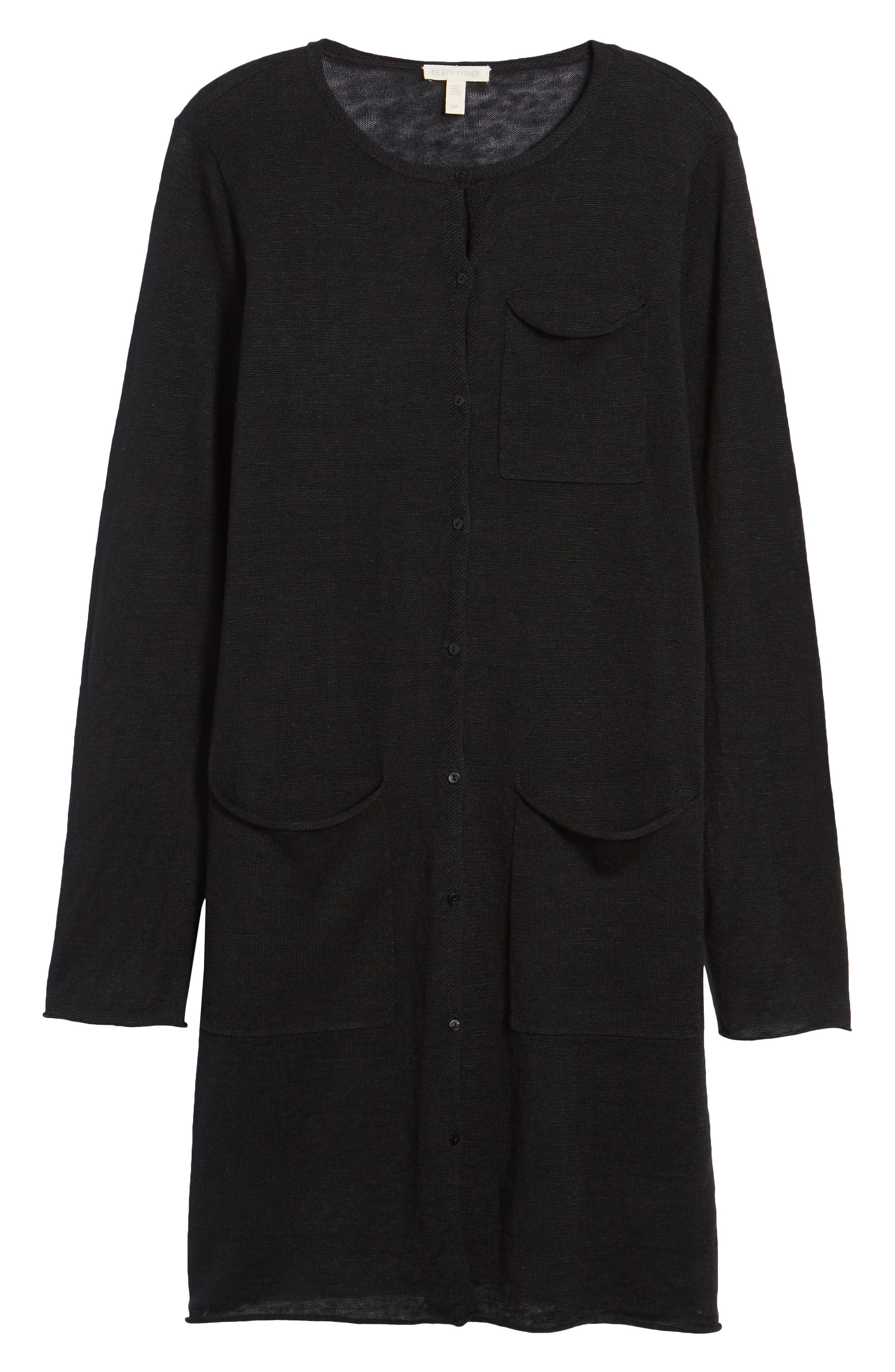 Long Organic Linen Cardigan,                             Alternate thumbnail 7, color,                             001