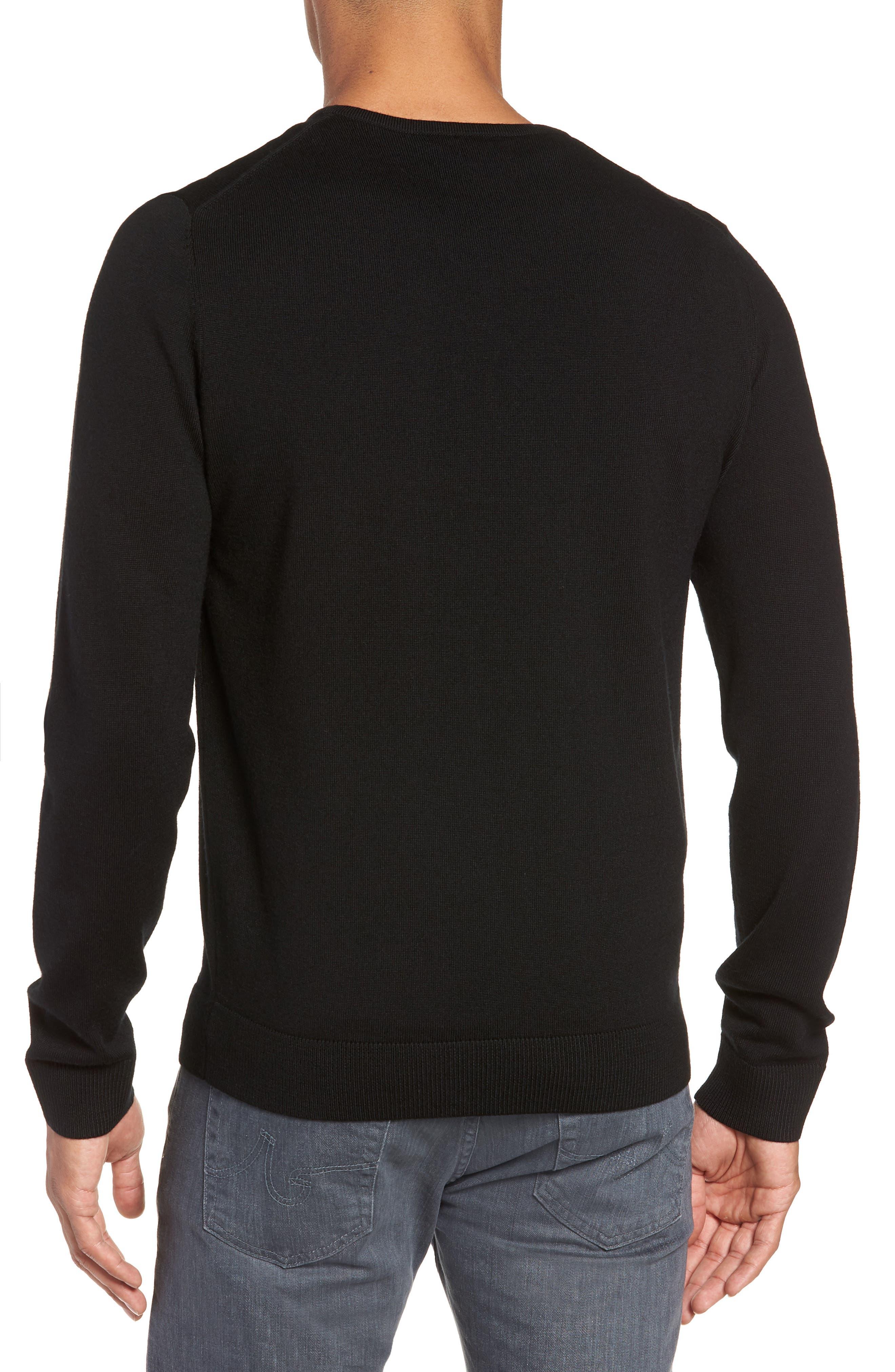 Regular Fit Merino Wool V-Neck Sweater,                             Alternate thumbnail 2, color,                             BLACK CAVIAR