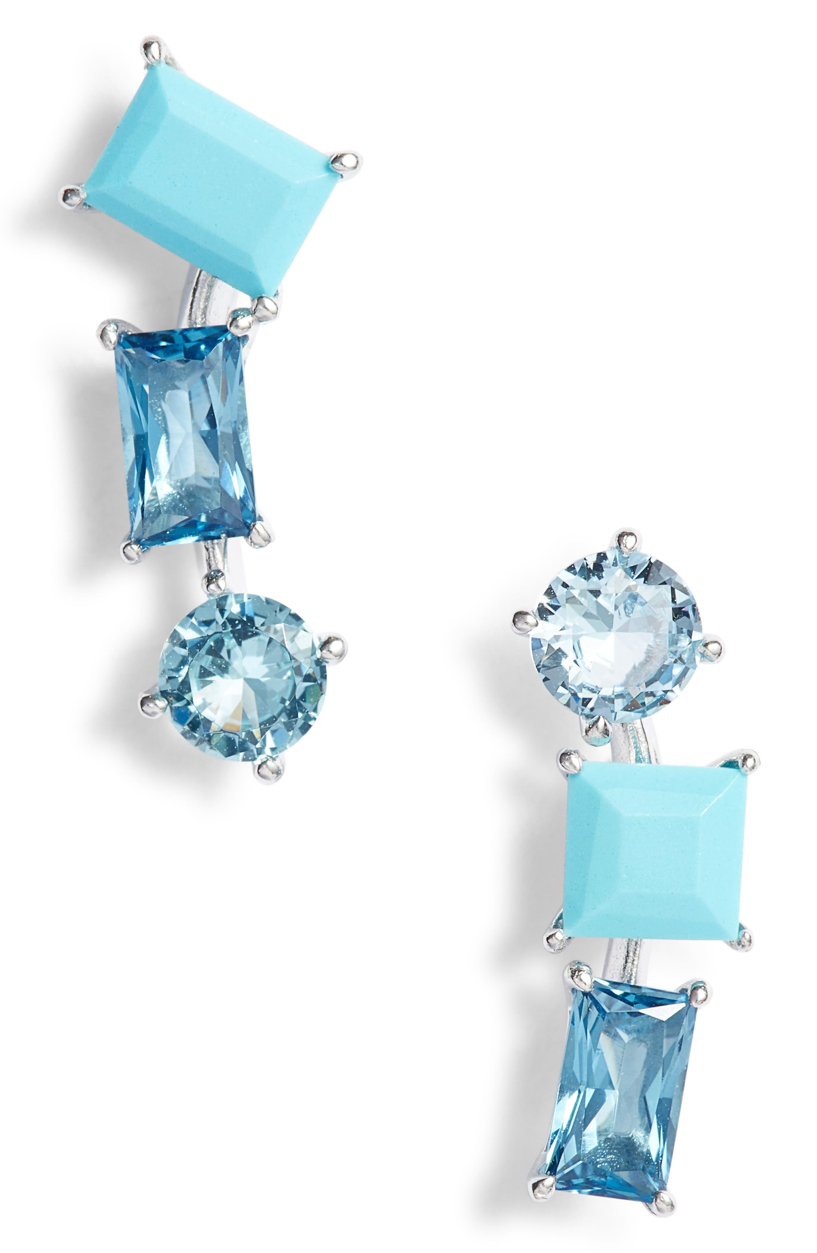 Mismatched Crystal Drop Earrings,                             Main thumbnail 1, color,                             040
