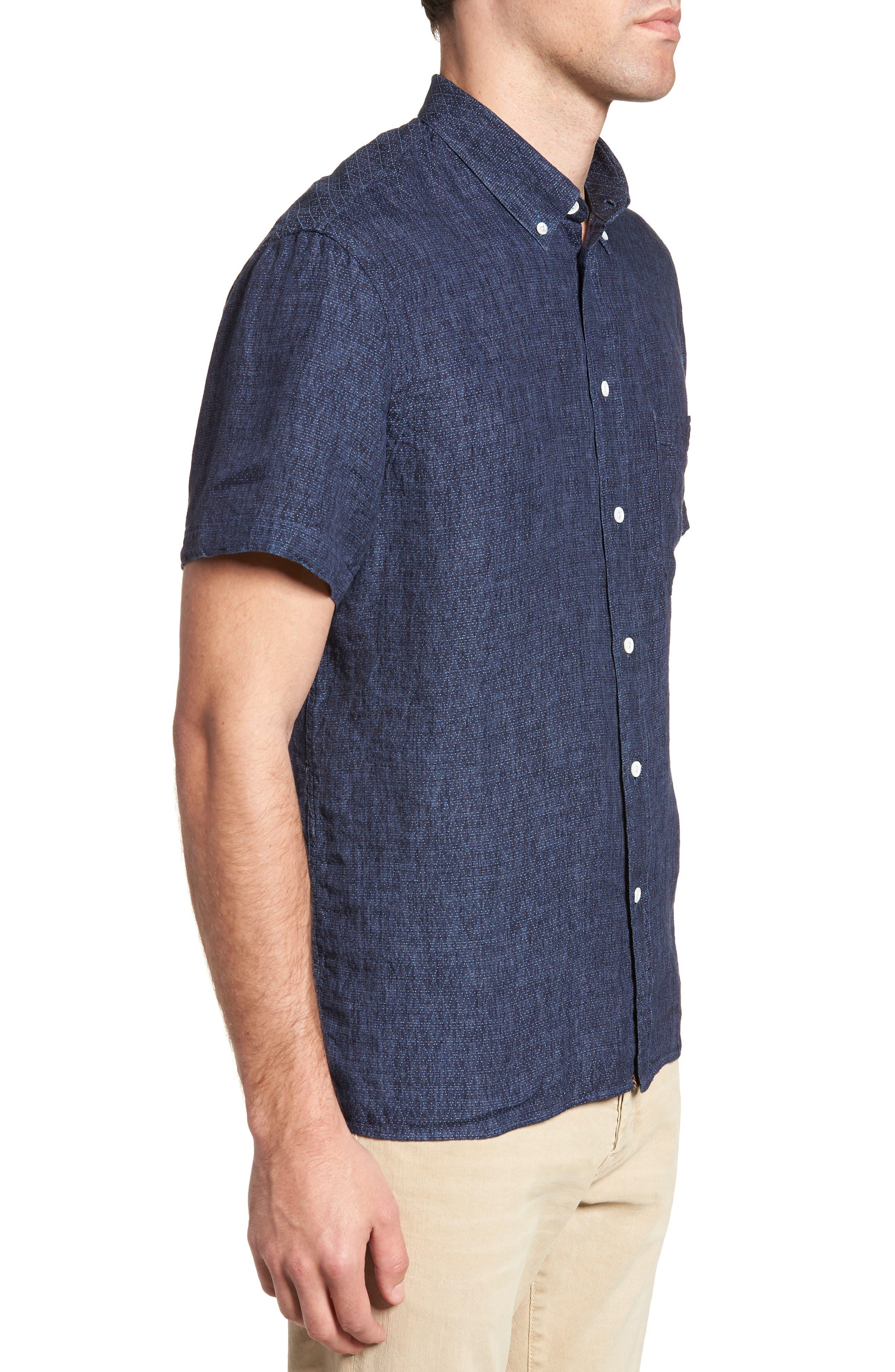 Leo Standard Fit Short Sleeve Sport Shirt,                             Alternate thumbnail 3, color,                             BLUE