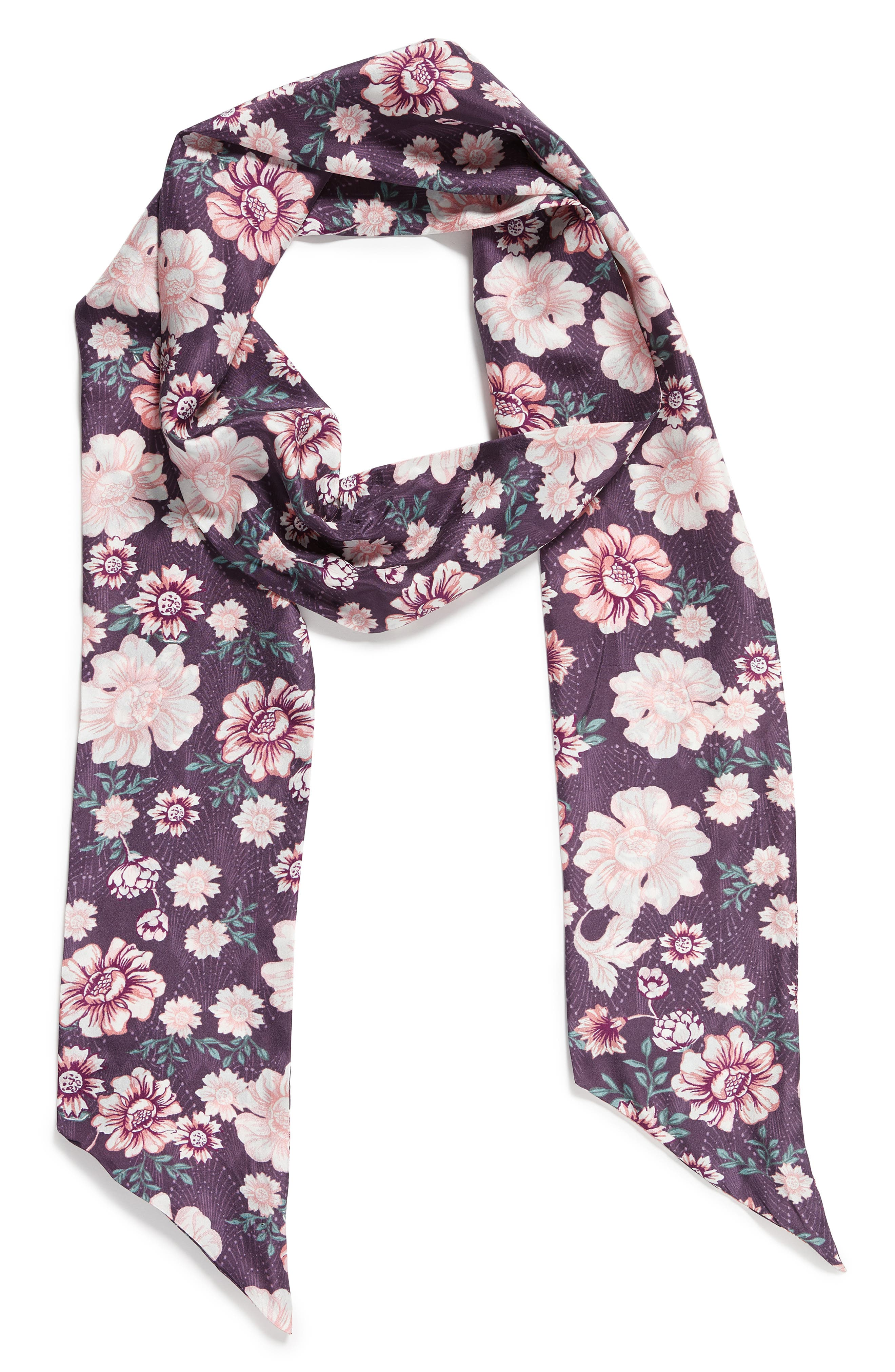 Mirrored Floral Silk Skinny Scarf,                             Alternate thumbnail 4, color,