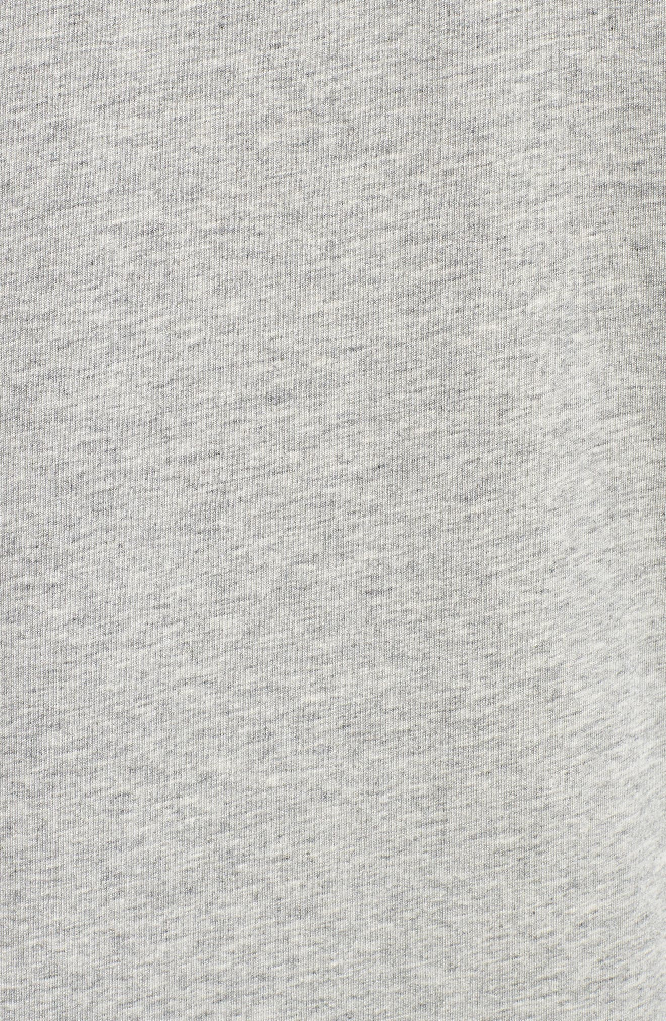 Second Skin V-Neck T-Shirt,                             Alternate thumbnail 5, color,                             HEATHER GREY