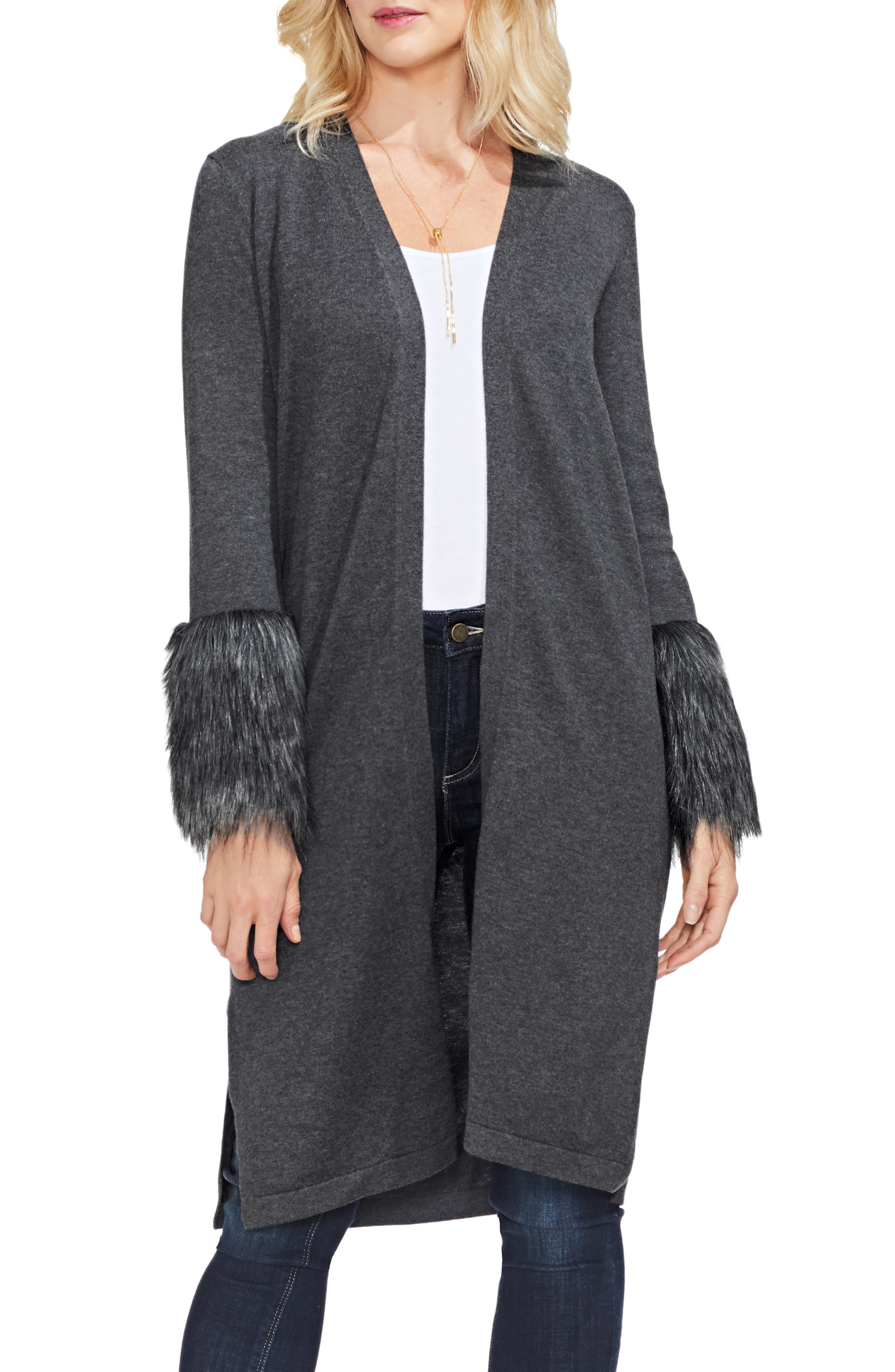 Faux Fur Cuff Cardigan,                             Main thumbnail 1, color,                             MED HEATHER GREY