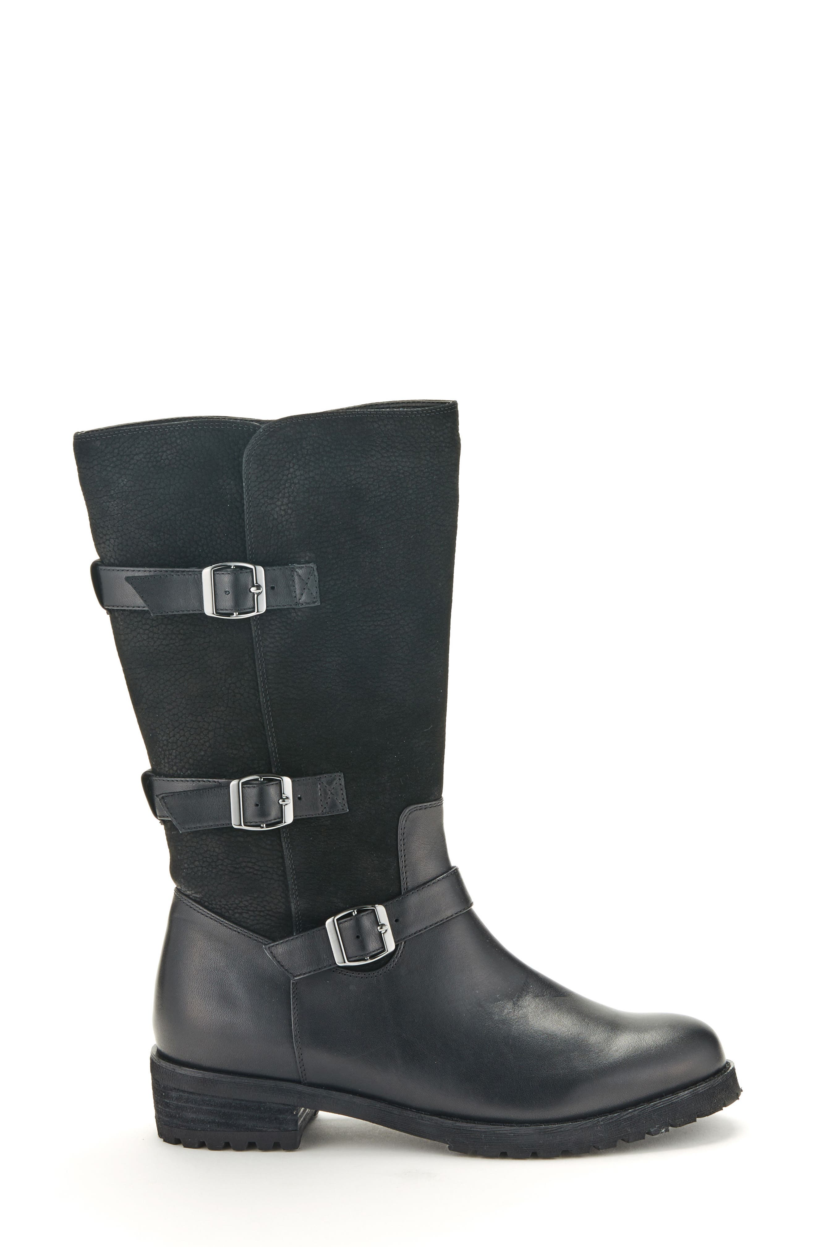 Lenie Waterproof Moto Boot,                             Alternate thumbnail 3, color,                             BLACK LEATHER