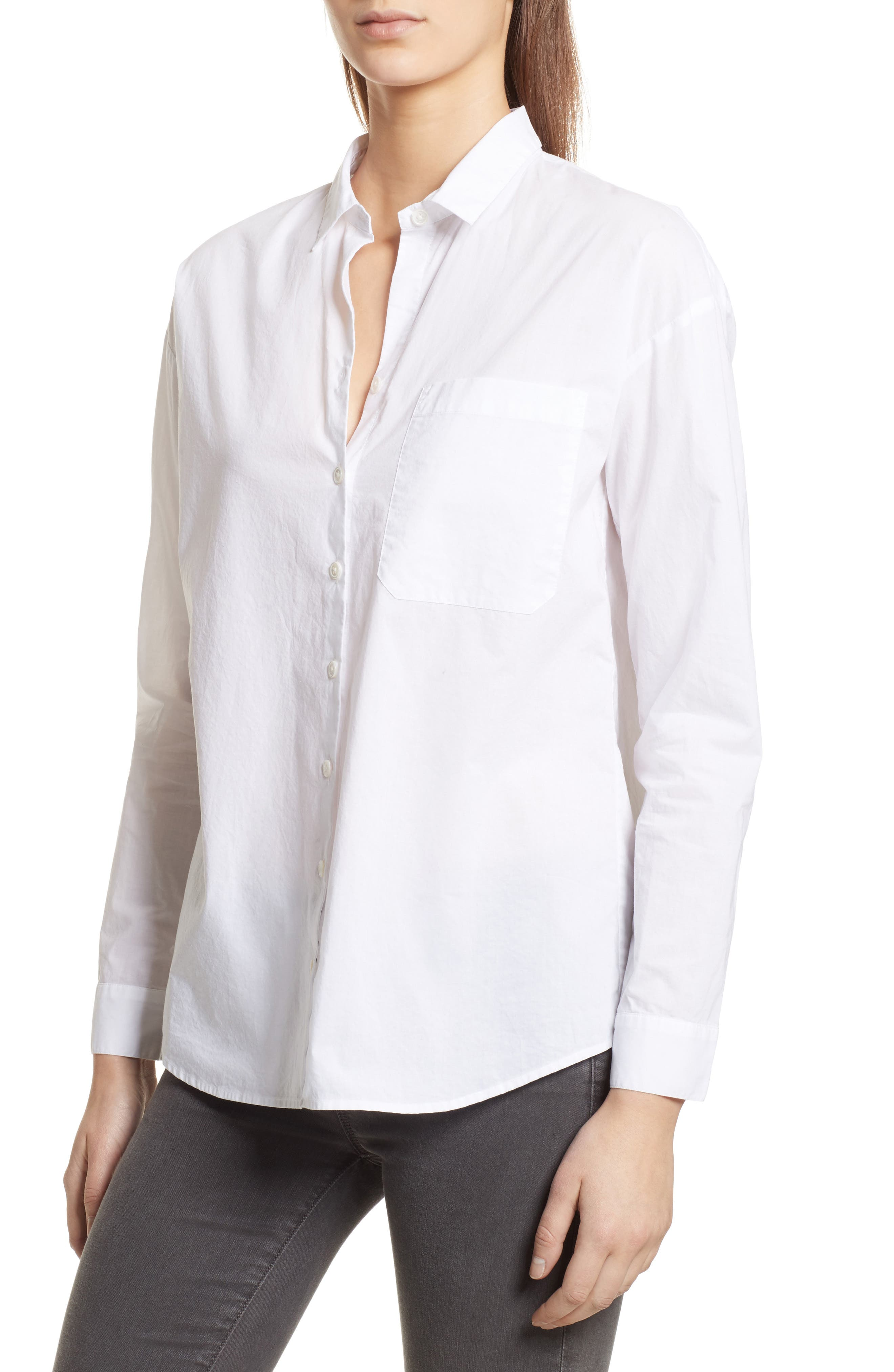 Cotton Poplin Boyfriend Shirt,                             Alternate thumbnail 4, color,                             100