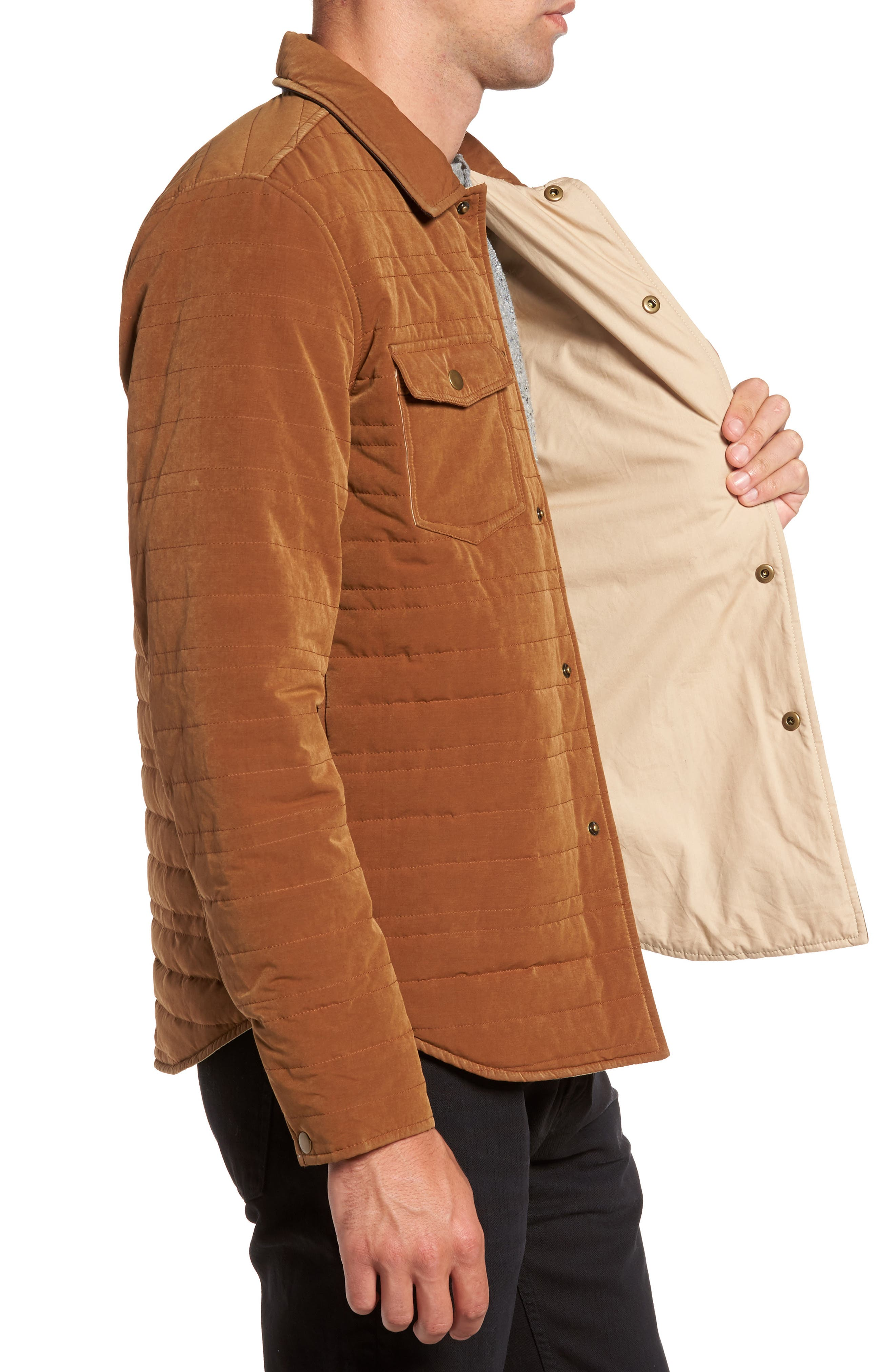 Michael Slim Fit Quilted Shirt Jacket,                             Alternate thumbnail 6, color,